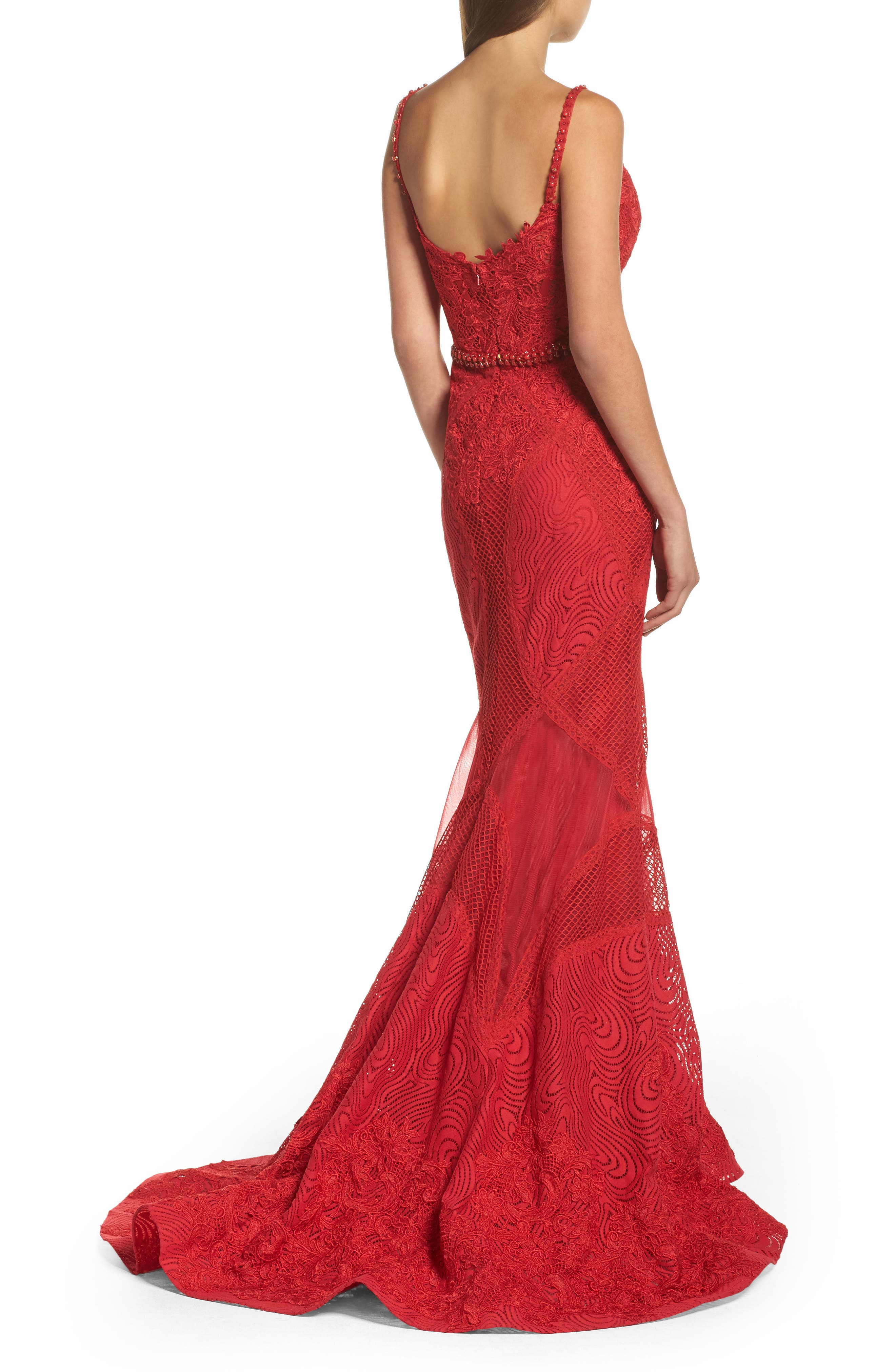 Embellished Lace Mermaid Gown,                             Alternate thumbnail 2, color,                             Red
