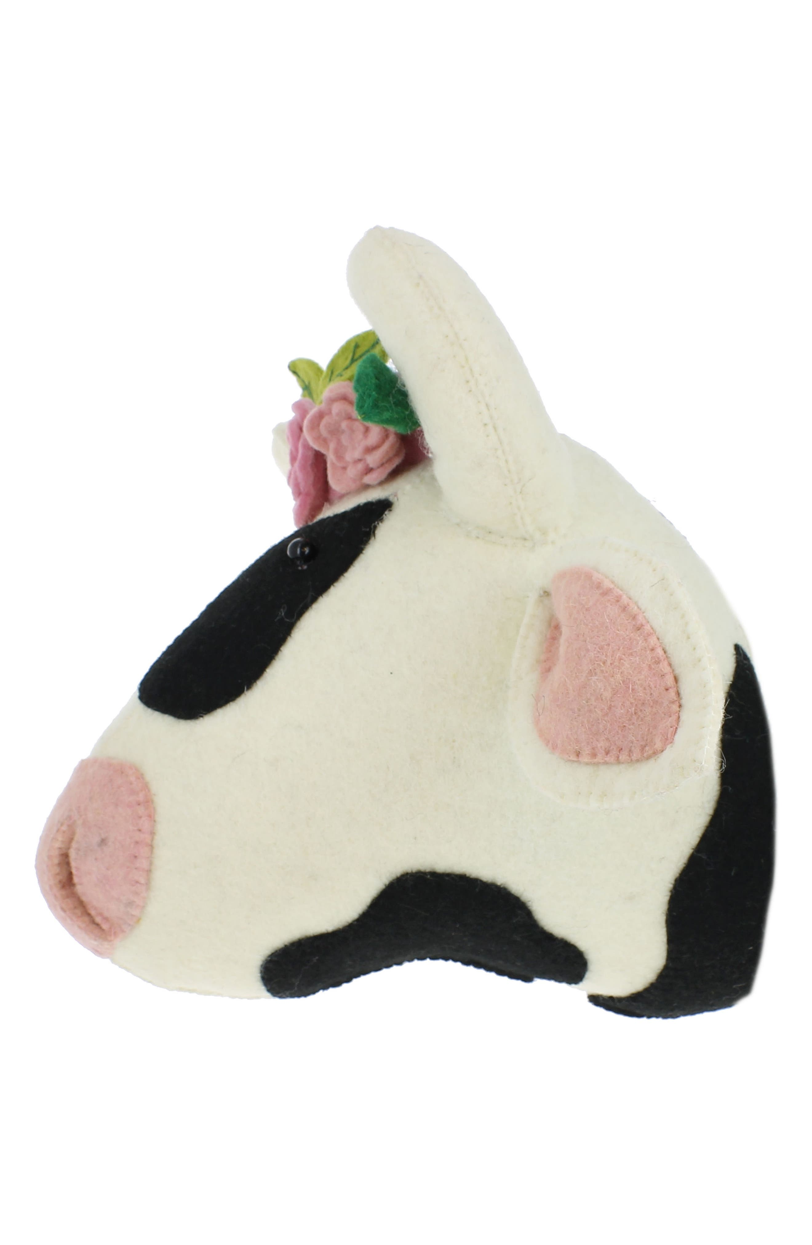 Cow Head with Flowers Wall Art,                             Alternate thumbnail 2, color,                             White