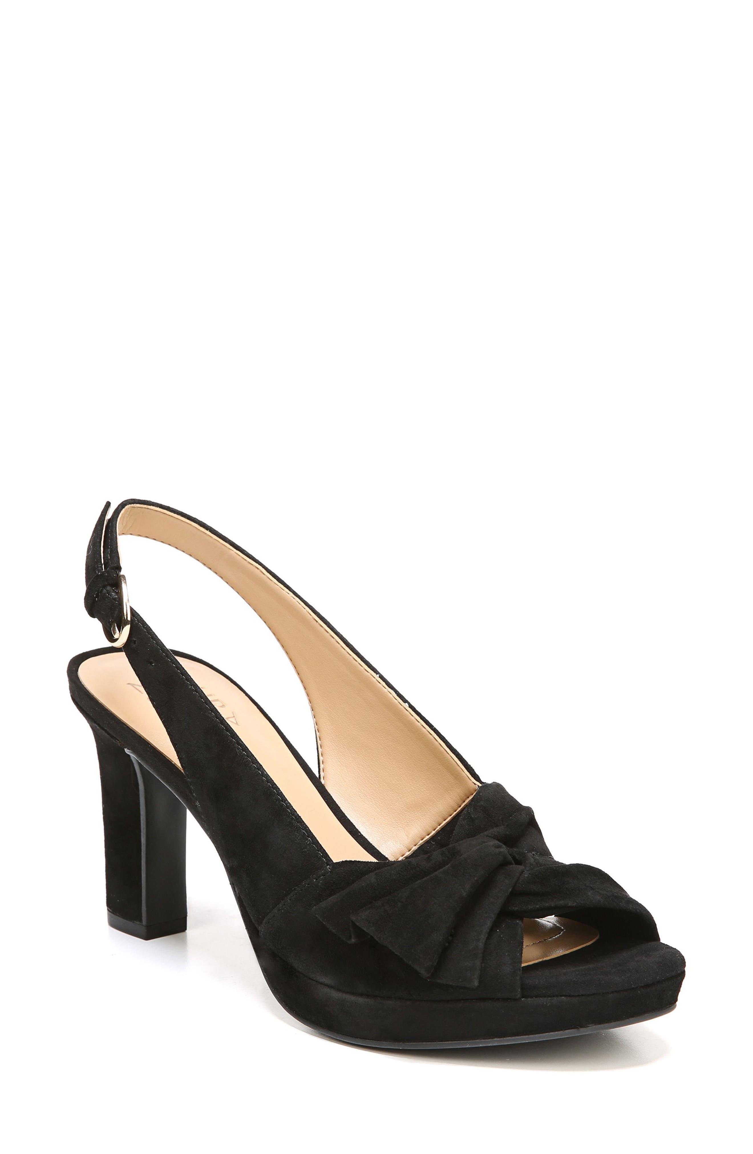 Fawn Slingback Sandal,                             Main thumbnail 1, color,                             Black Suede