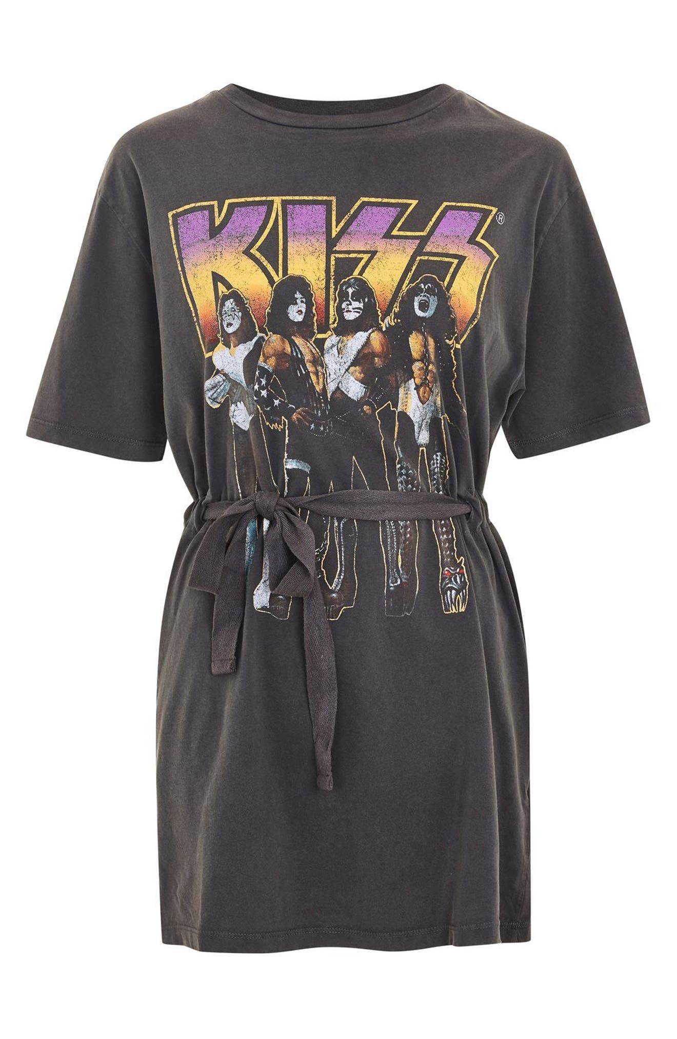 Kiss Graphic Belted Tunic Dress,                             Alternate thumbnail 4, color,                             Charcoal Multi