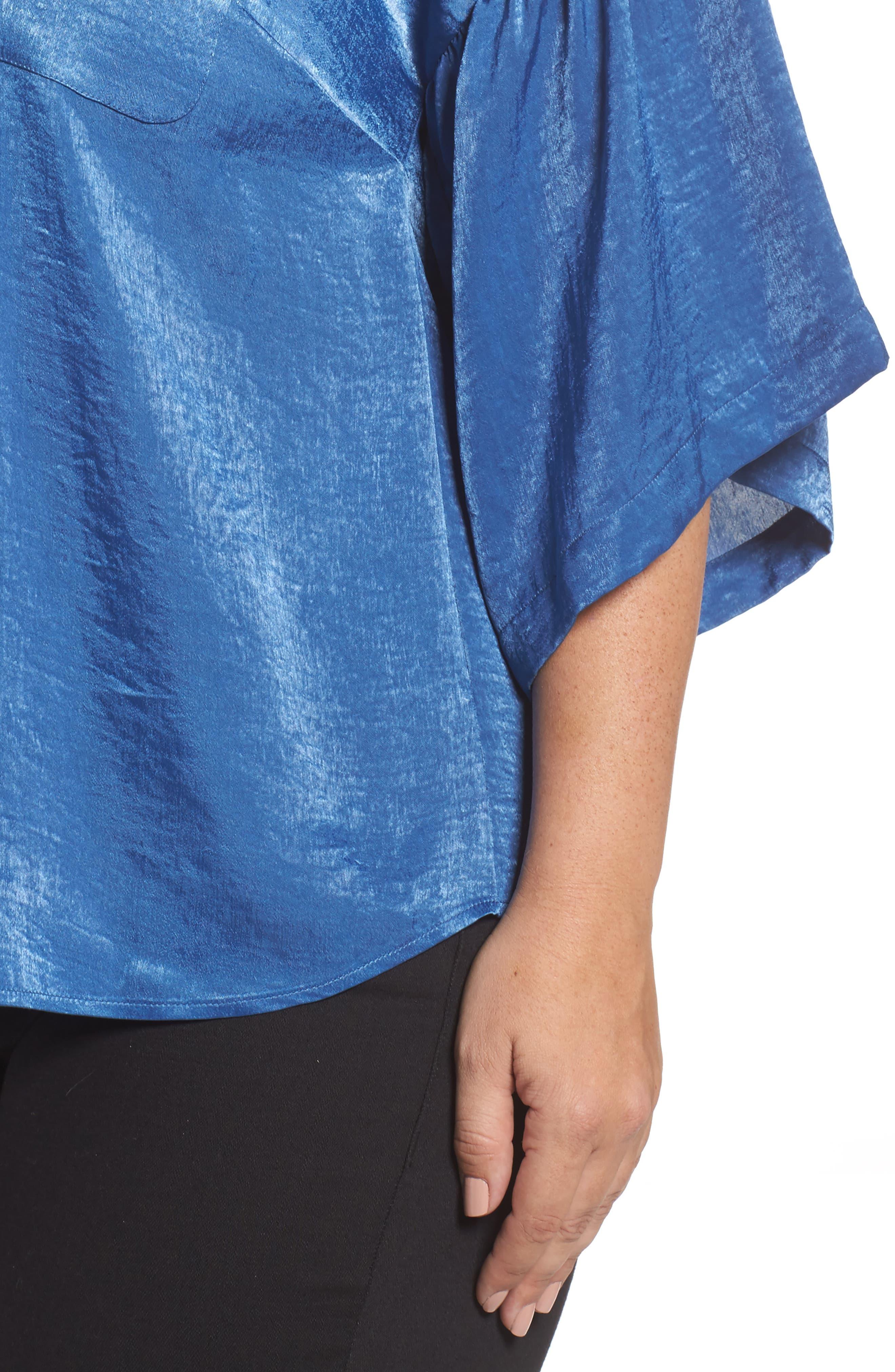 Bell Sleeve Rumpled Satin Blouse,                             Alternate thumbnail 4, color,                             322-Divine Blue