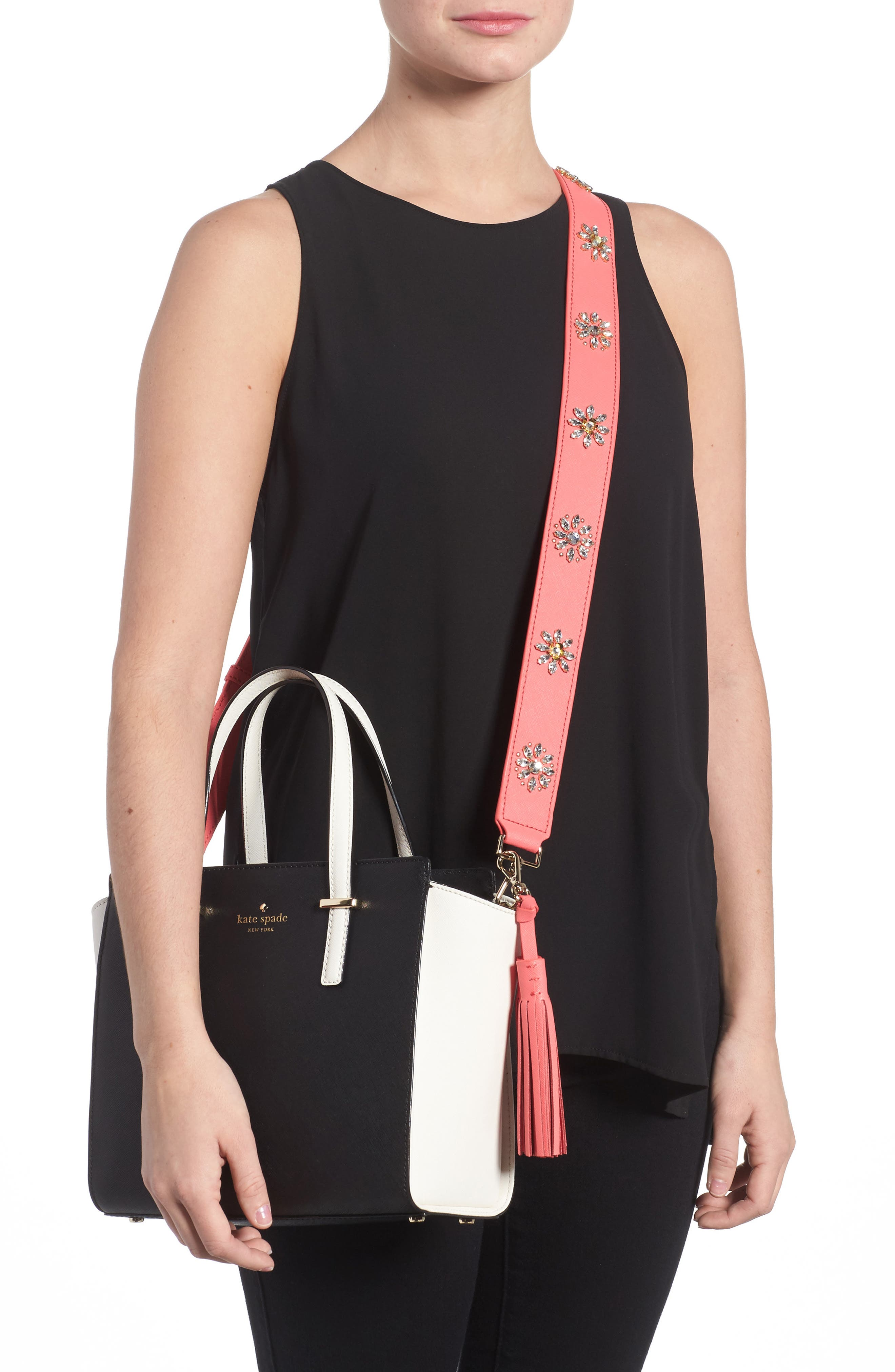 Alternate Image 2  - kate spade new york make it mine crystal flowers leather guitar bag strap & tassel