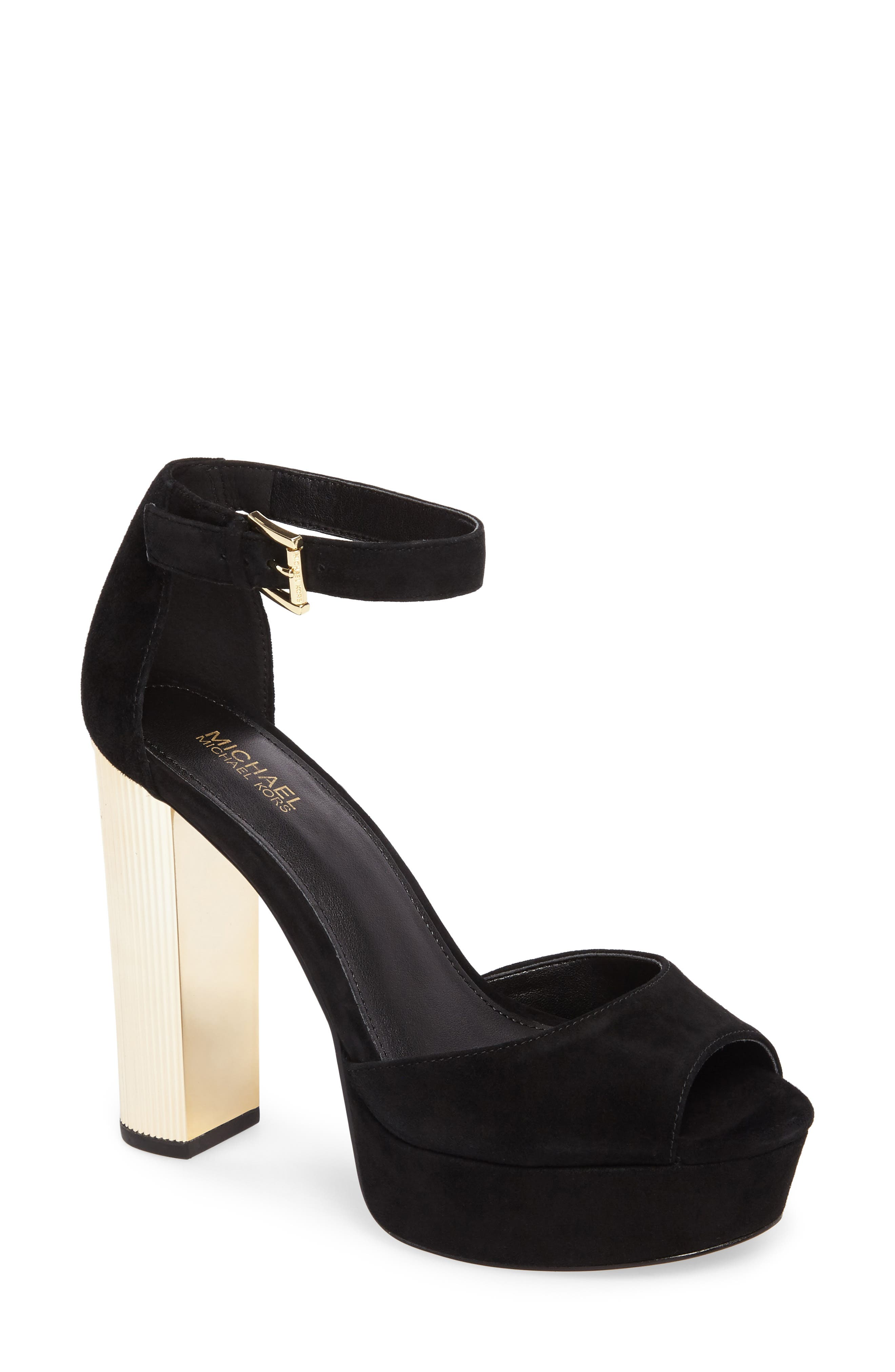 Paloma Metallic Heel Platform Sandal,                         Main,                         color, Black Leather