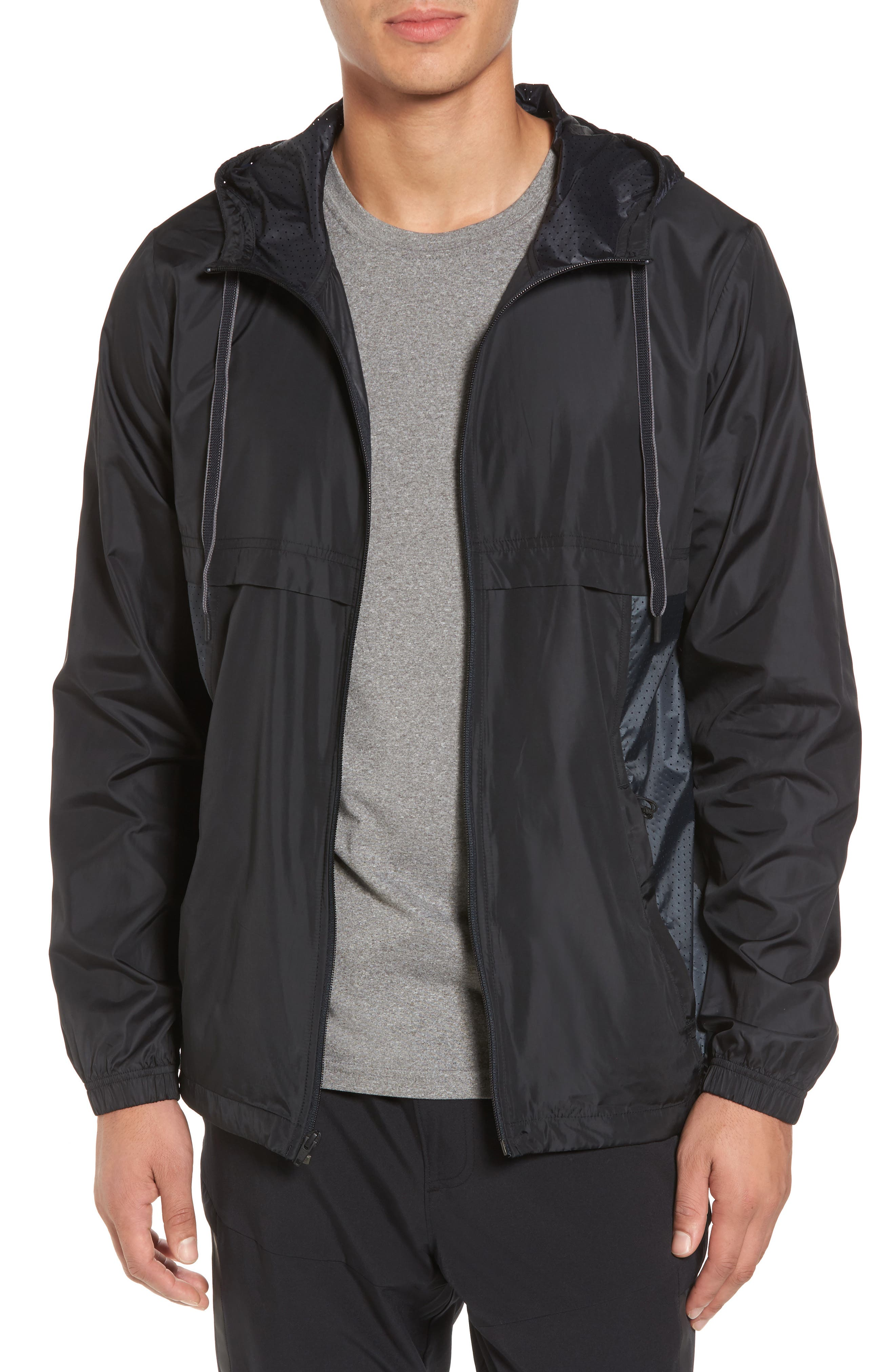 Sportstyle Windbreaker,                         Main,                         color, Black / Overcast Grey