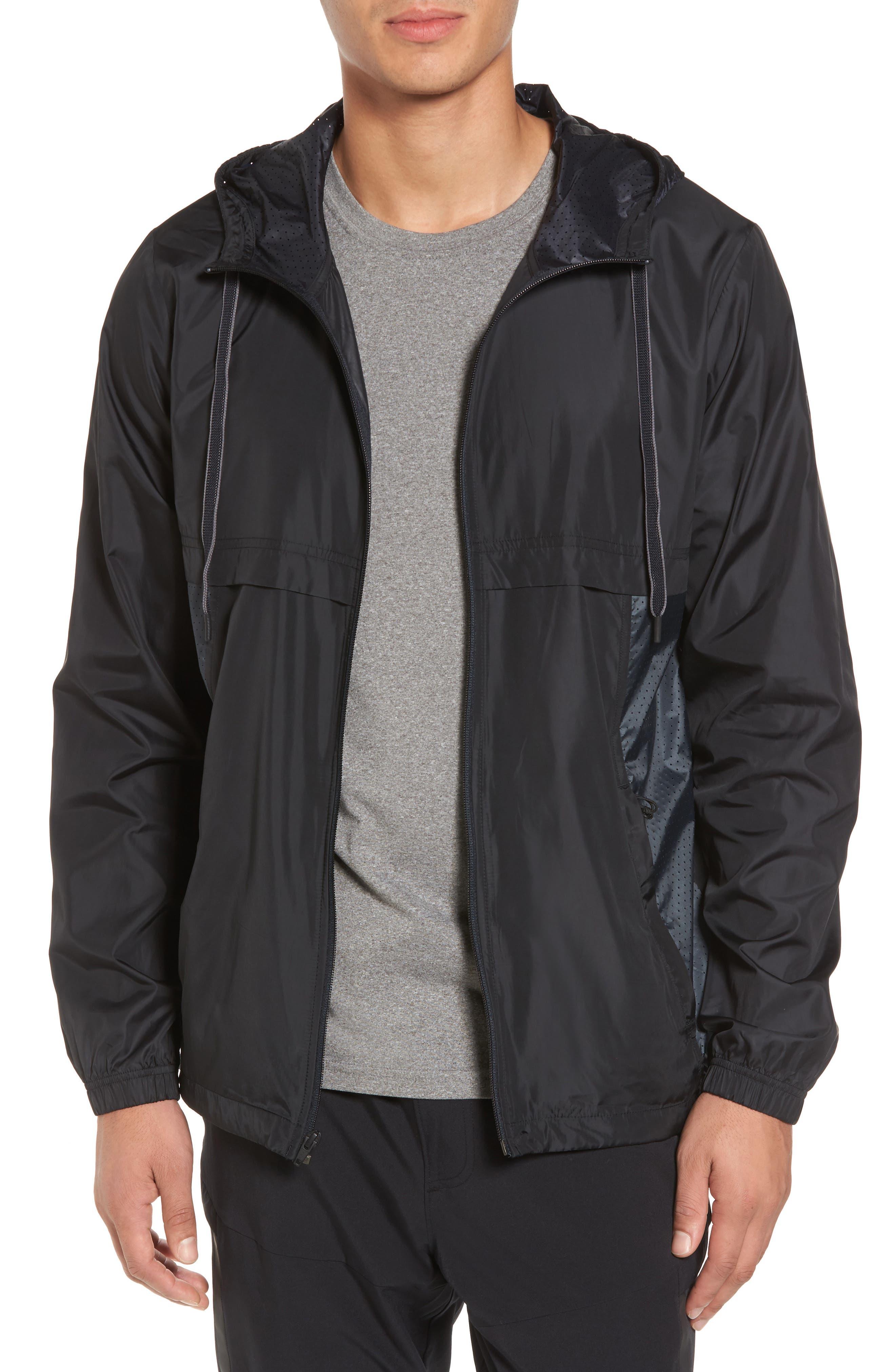 Sportstyle Windbreaker,                         Main,                         color, Black / Overcast Grey