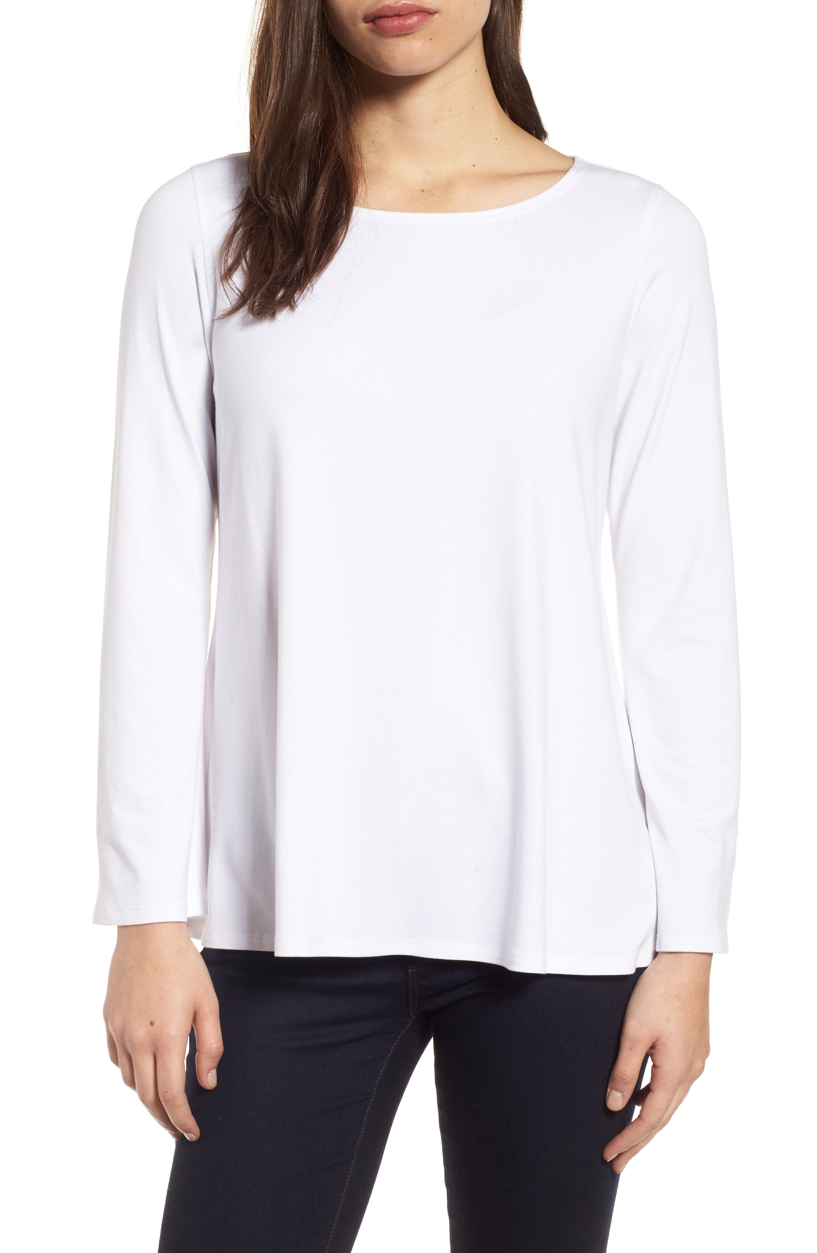Ballet Neck Jersey Top,                         Main,                         color, White