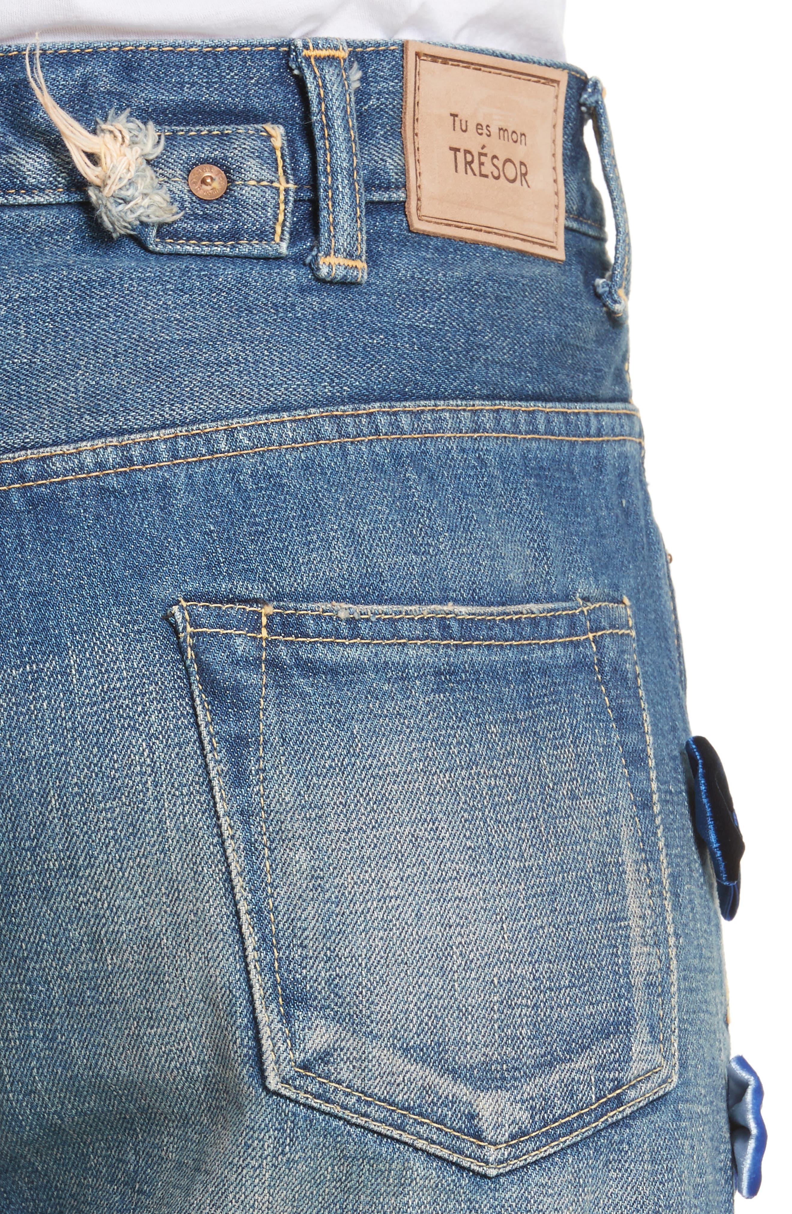 Alternate Image 4  - Tu es mon TRESOR Velvet Side Bow Jeans
