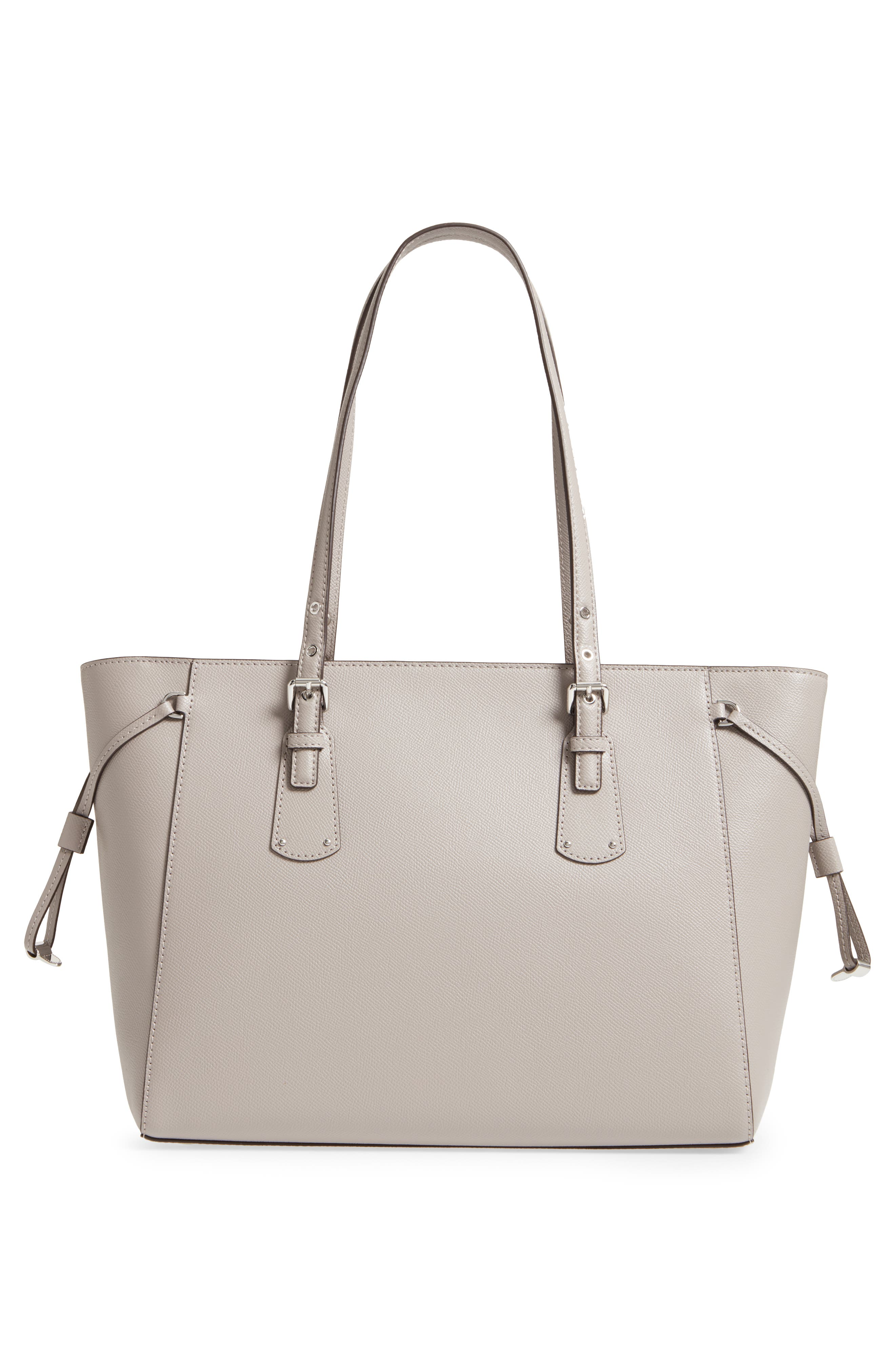 MICHAEL Michael Kors Voyager Leather Tote,                             Alternate thumbnail 3, color,                             Pearl Grey