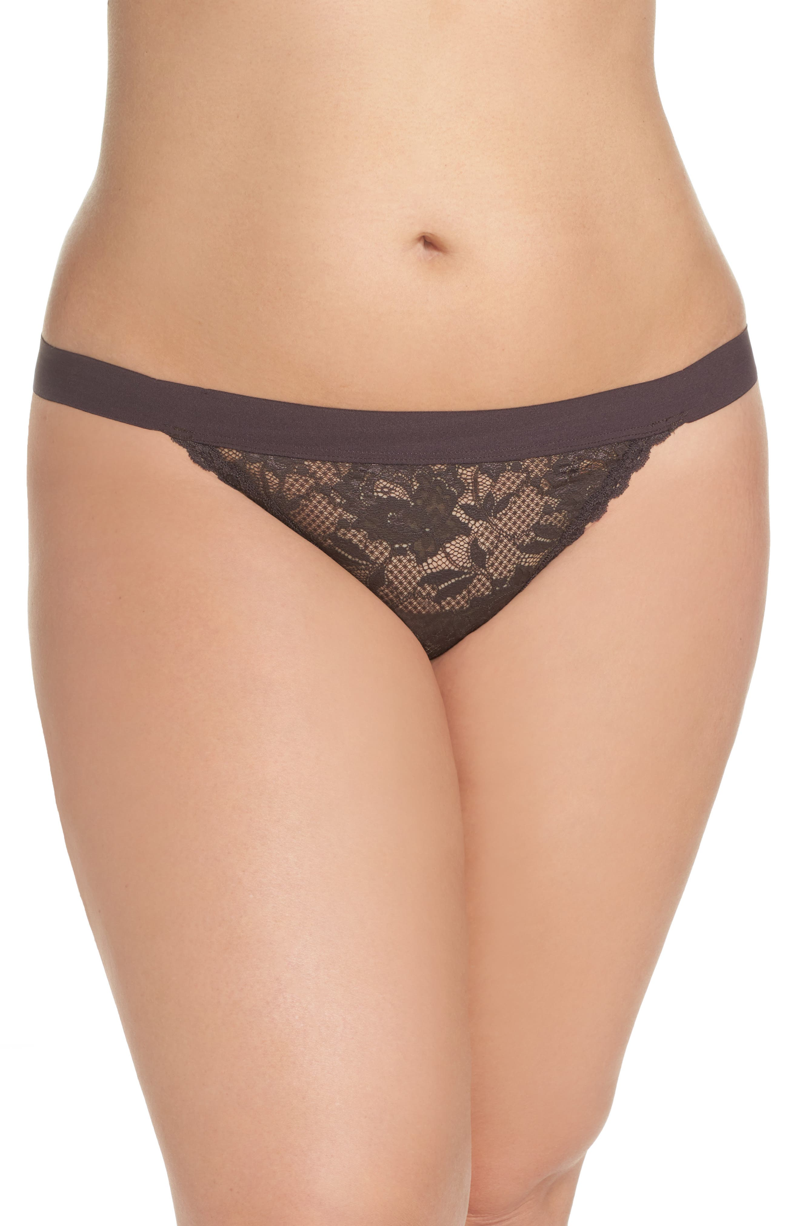 Never Say Never G-String Thong,                         Main,                         color, Graphite