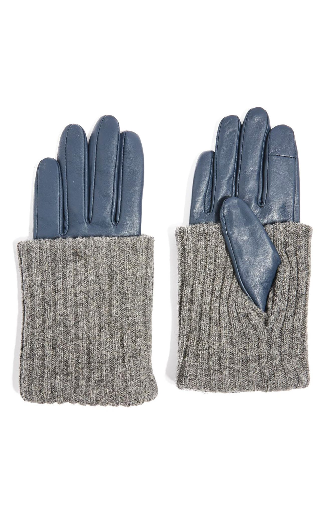 Topshop Wool-Blend Cuff Genuine Leather Gloves
