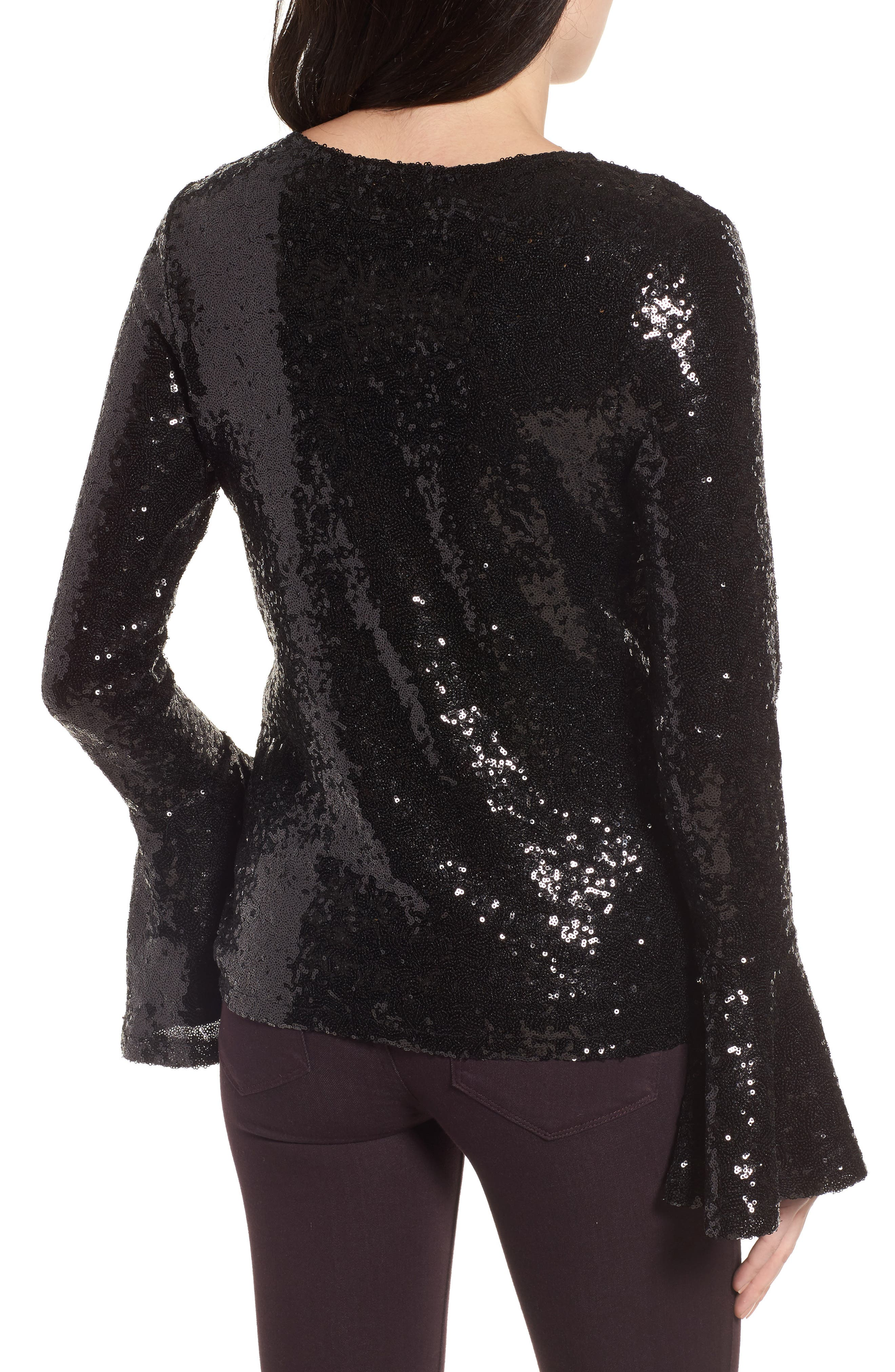 Flare Sleeve Sequin Top,                             Alternate thumbnail 2, color,                             Black
