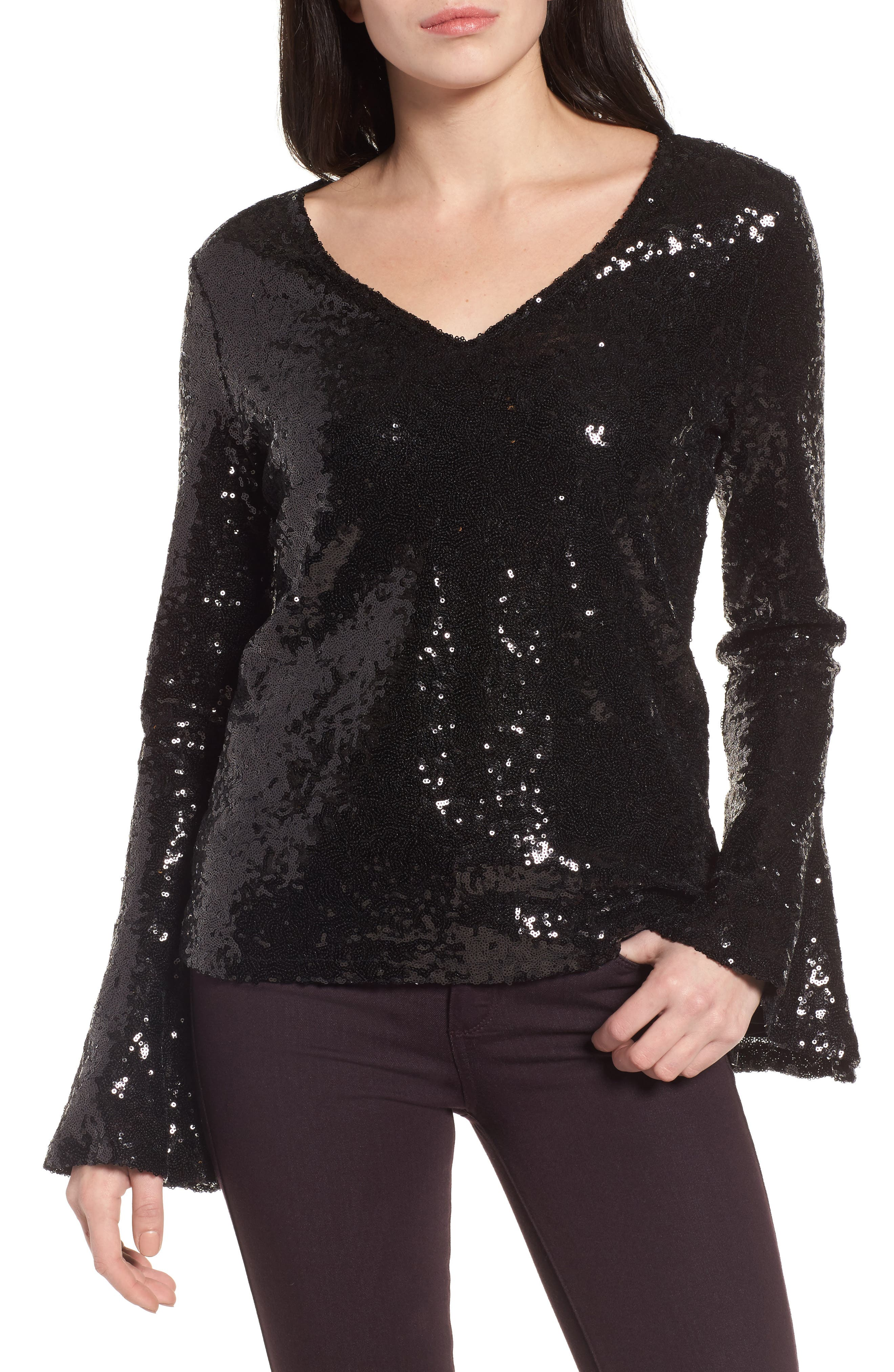 Flare Sleeve Sequin Top,                             Main thumbnail 1, color,                             Black