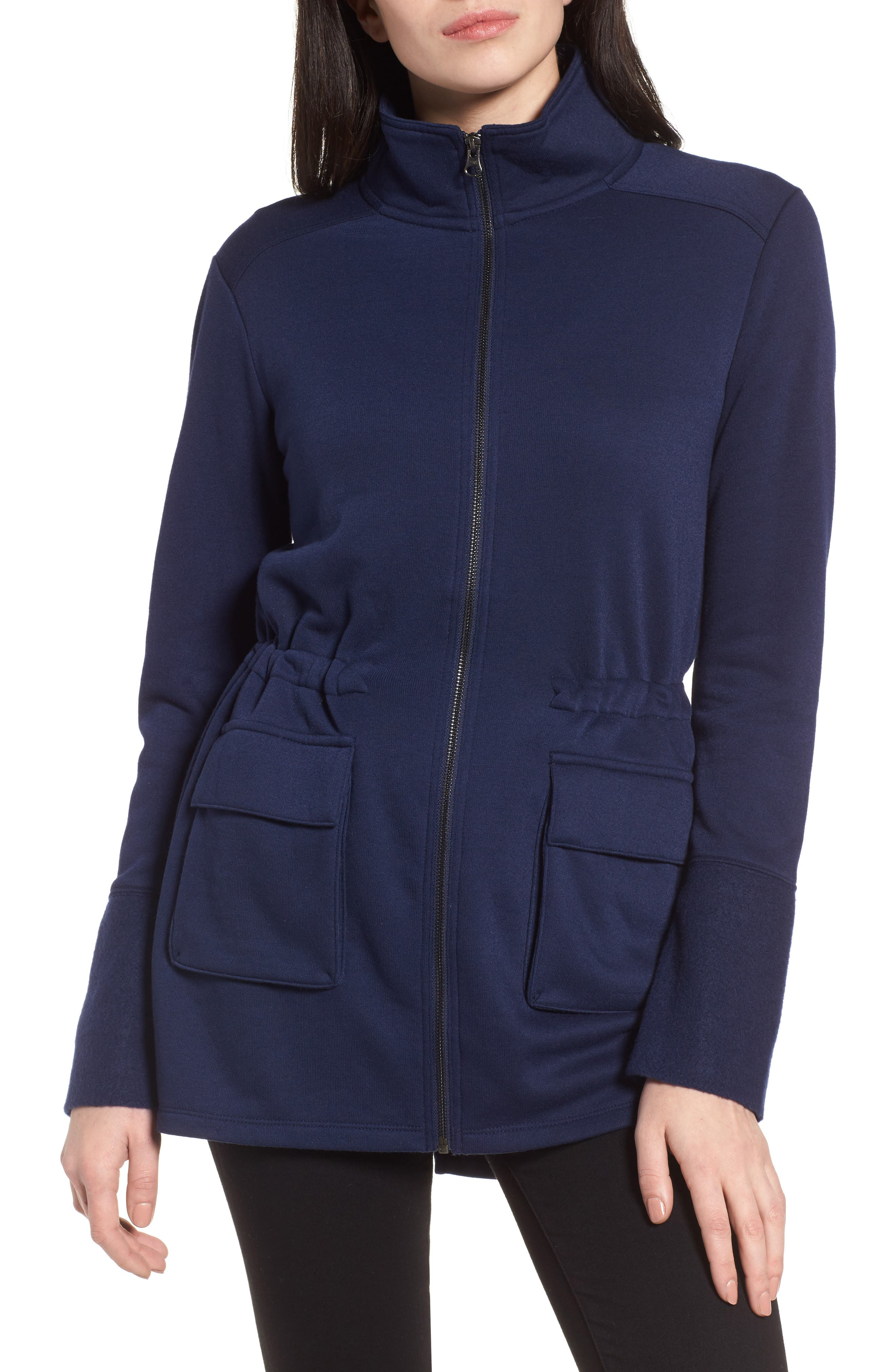 Gathered Waist Front Zip Jacket,                             Alternate thumbnail 4, color,                             Navy Peacoat