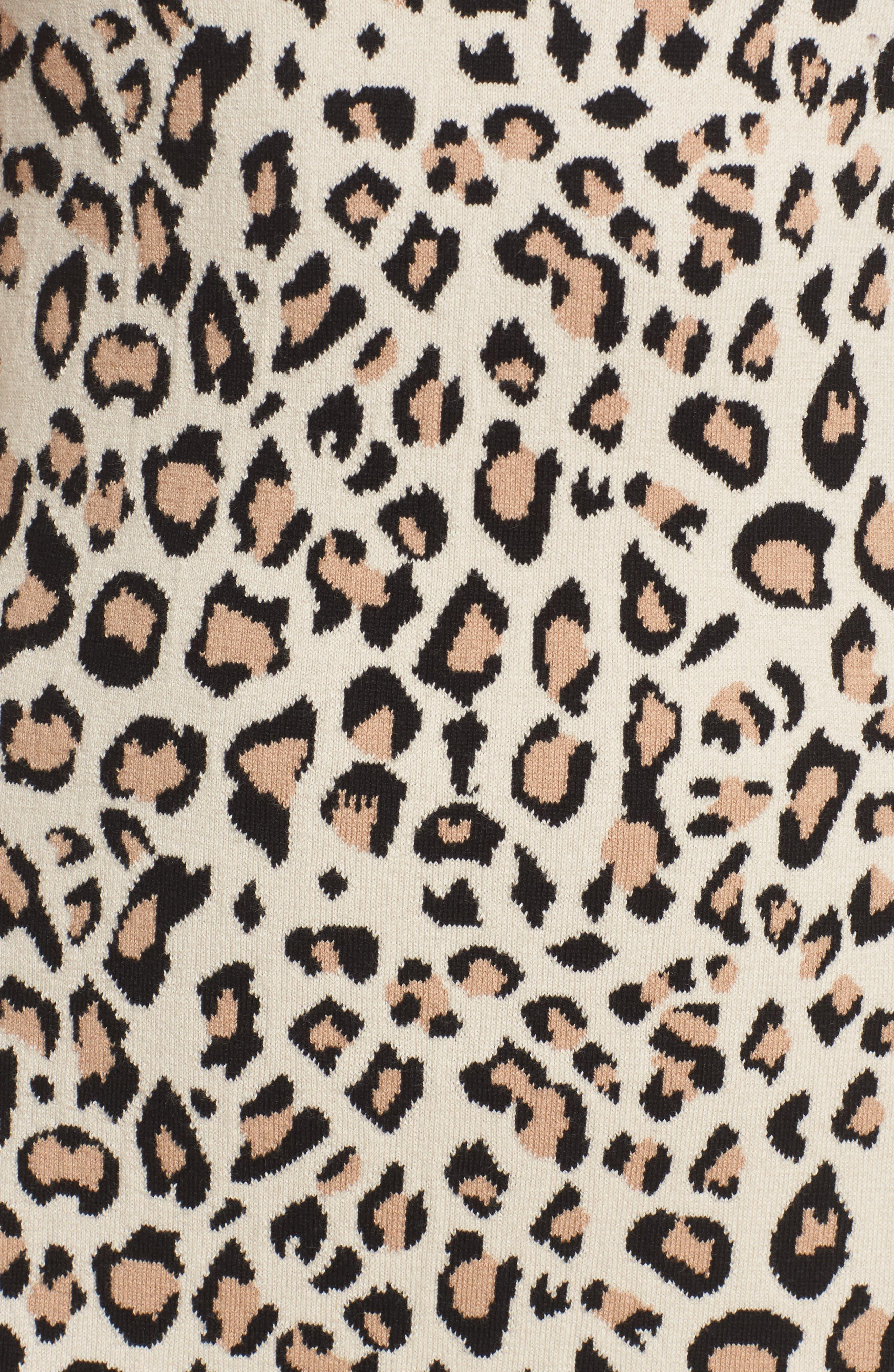 Sutter Body-Con Dress,                             Alternate thumbnail 5, color,                             Leopard