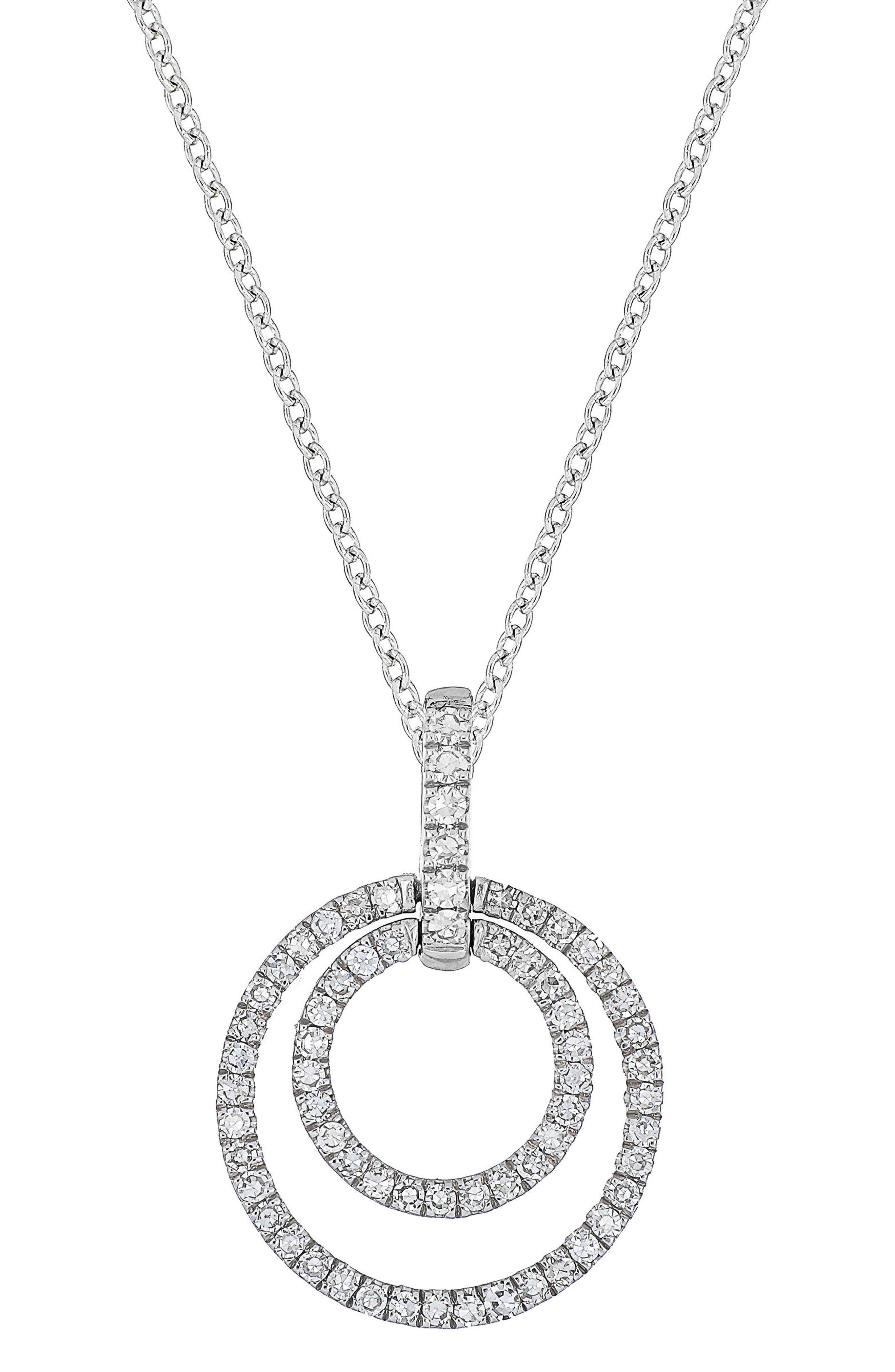 Carrière Double Circle Diamond Pendant Necklace,                             Main thumbnail 1, color,                             Silver/ Diamond
