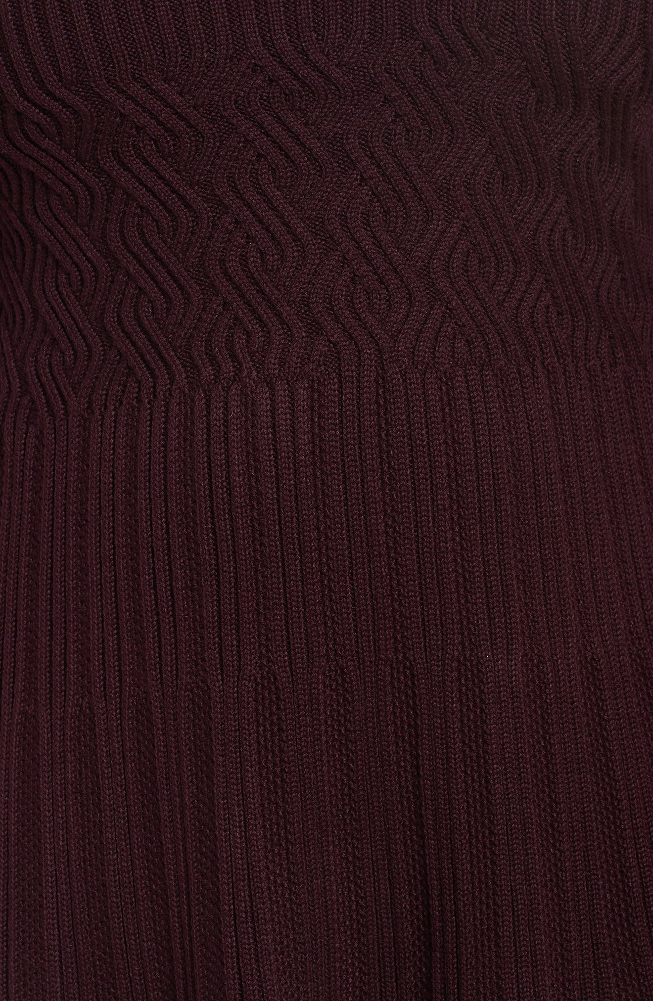 Ribbed Waist Fit & Flare Dress,                             Alternate thumbnail 5, color,                             Wine