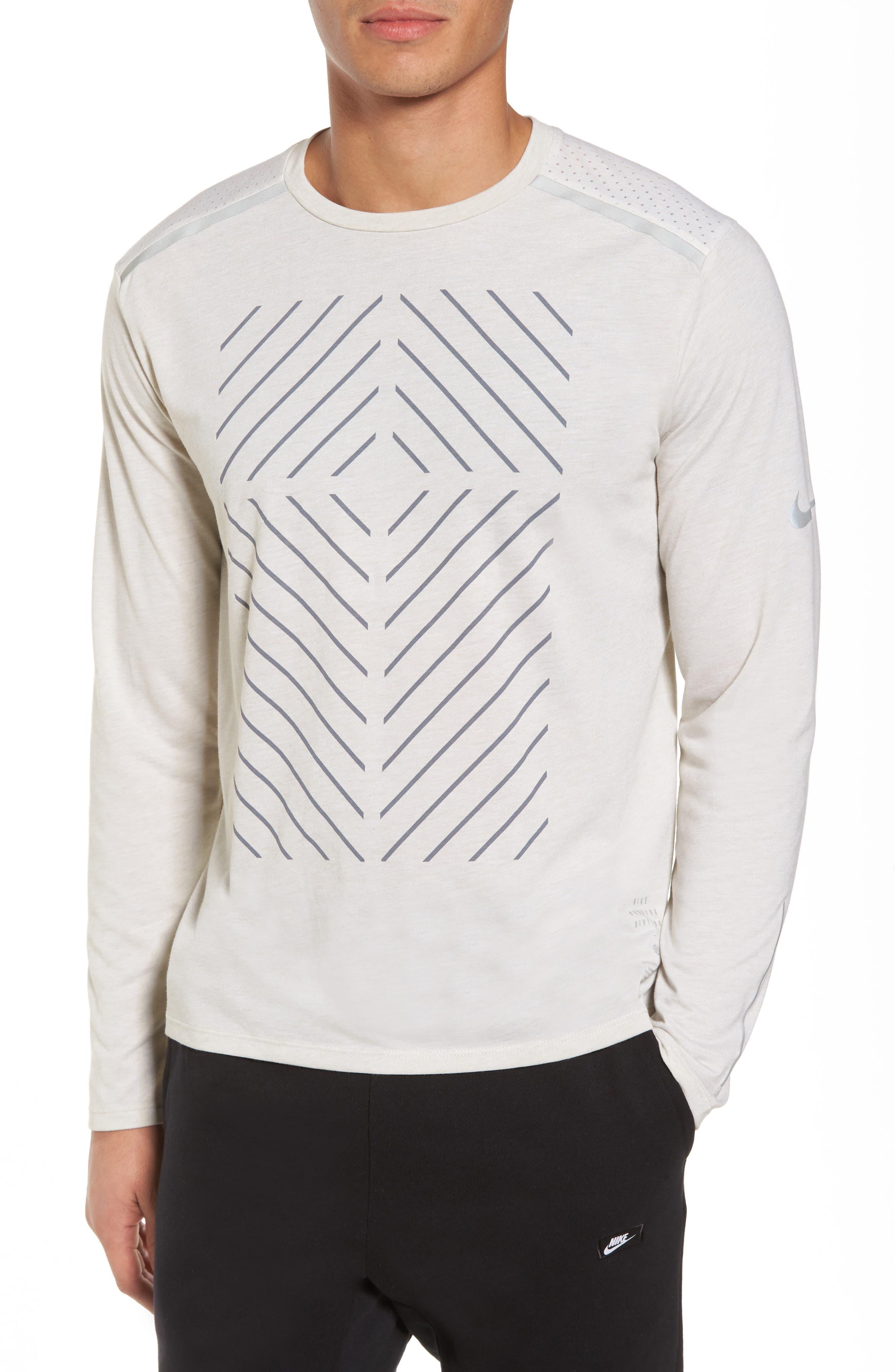 Tailwind Long Sleeve Running T-Shirt,                         Main,                         color, Light Bone/ Heather