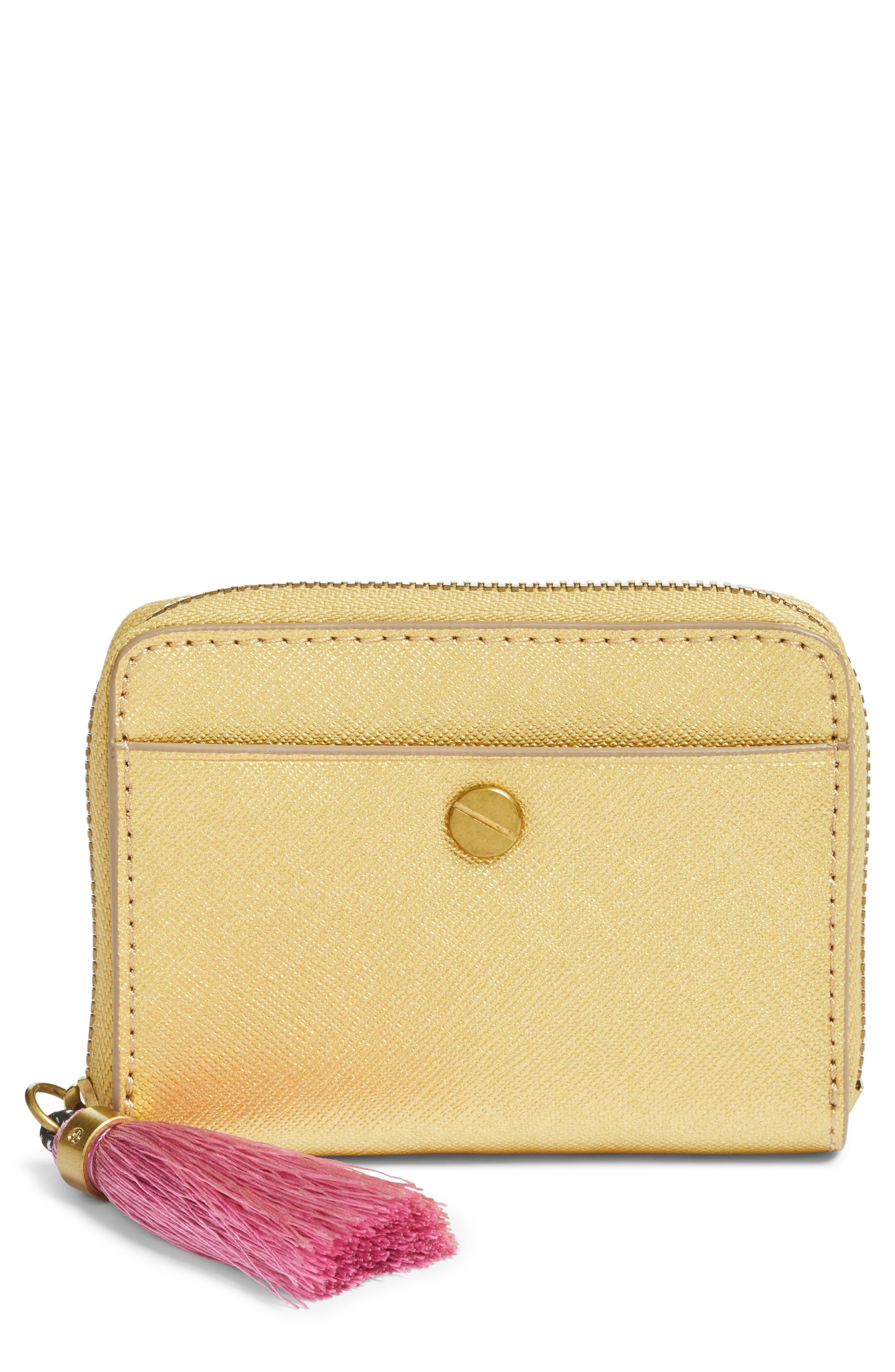 Saffiano Italian Leather Card Case with Tassel,                         Main,                         color, Gold