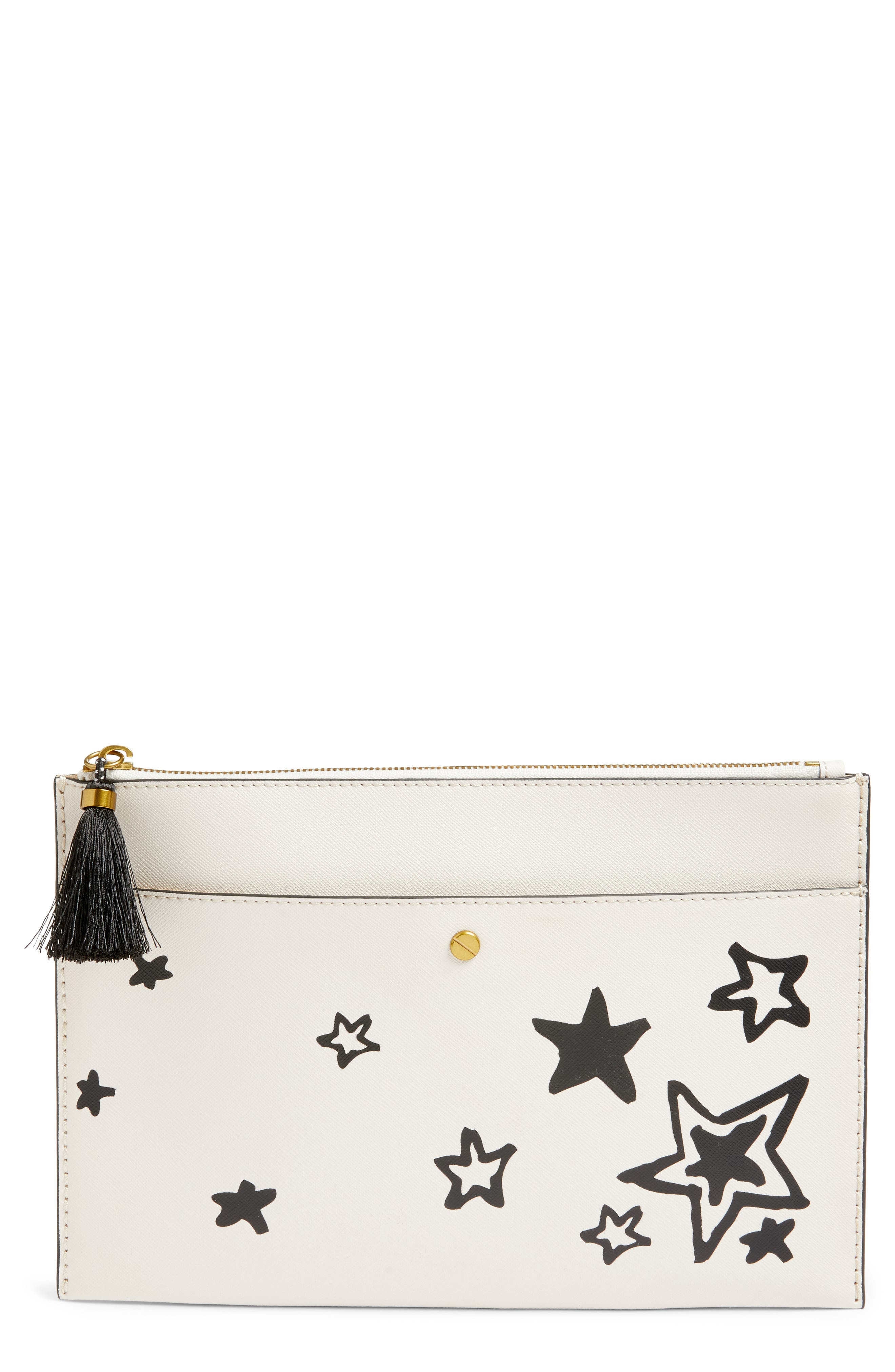 Large Star Print Pouch,                             Main thumbnail 1, color,                             Vintage Champagne Stars