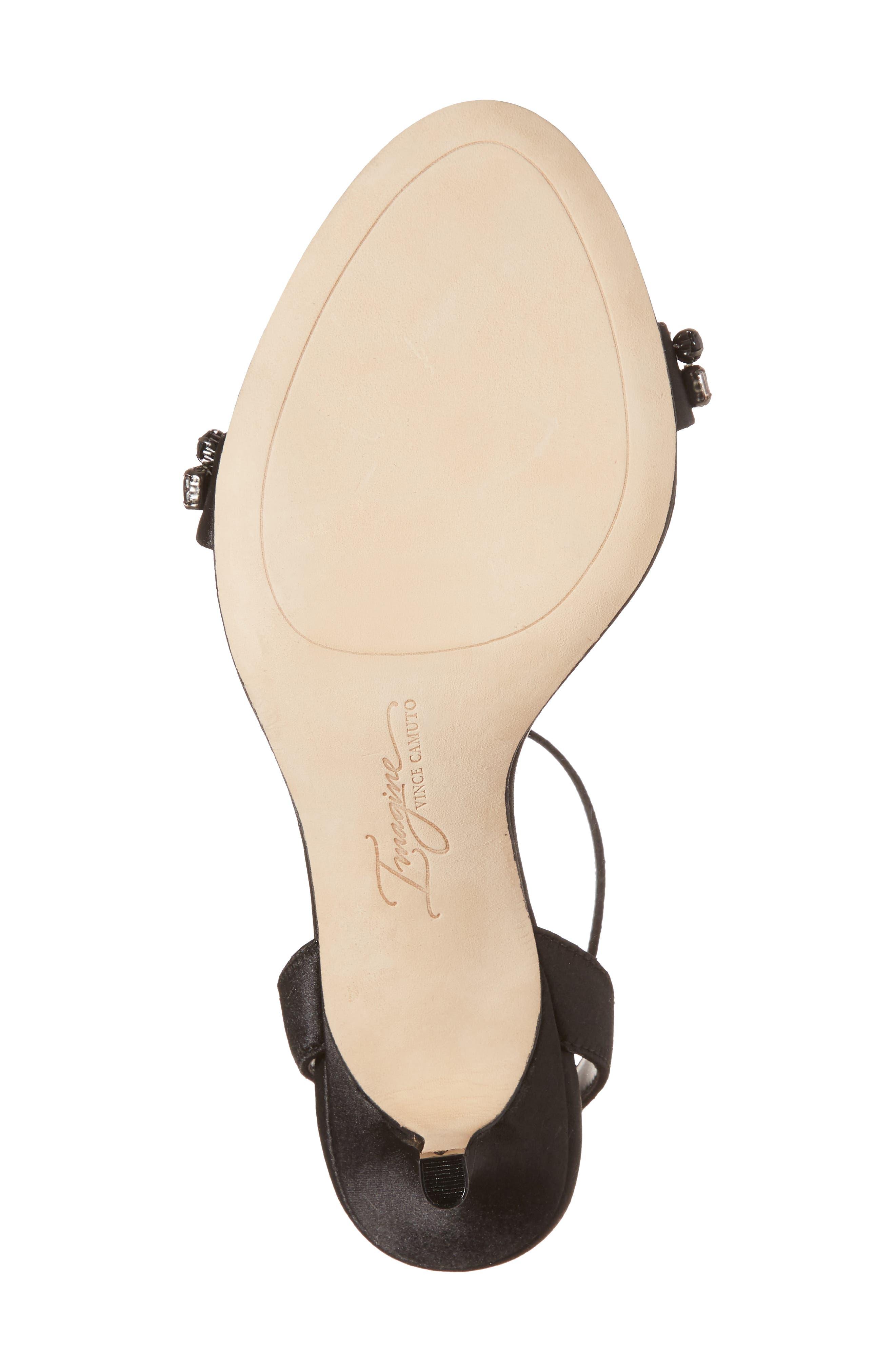 Imagine Vince Camuto Kolo Embellished Kitten Heel Sandal,                             Alternate thumbnail 6, color,                             Black Satin