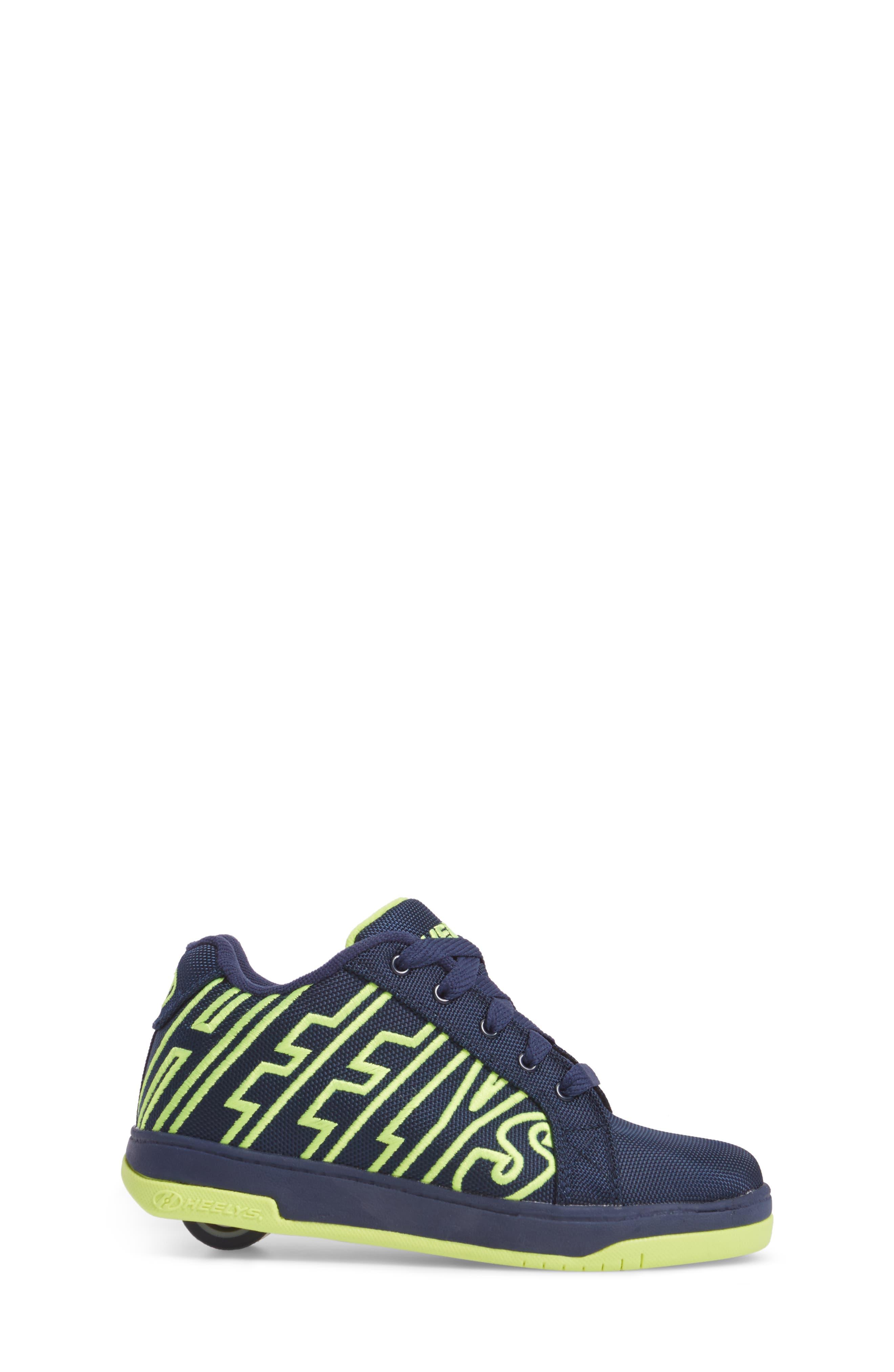 Split Logo Wheeled Skate Sneaker,                             Alternate thumbnail 3, color,                             Navy/ Bright Yellow