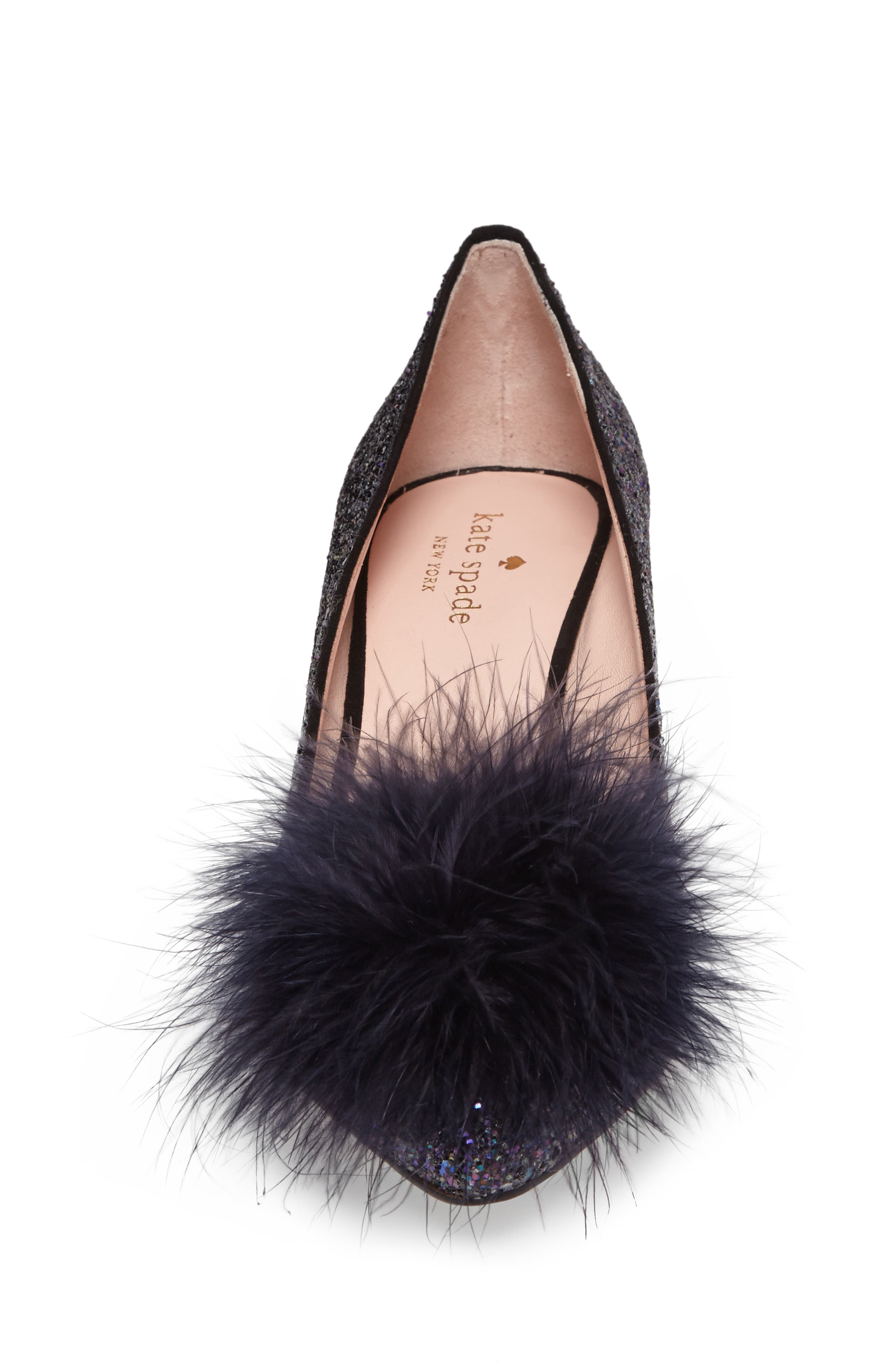 maribou pouf glitter pump,                             Alternate thumbnail 4, color,                             Midnight