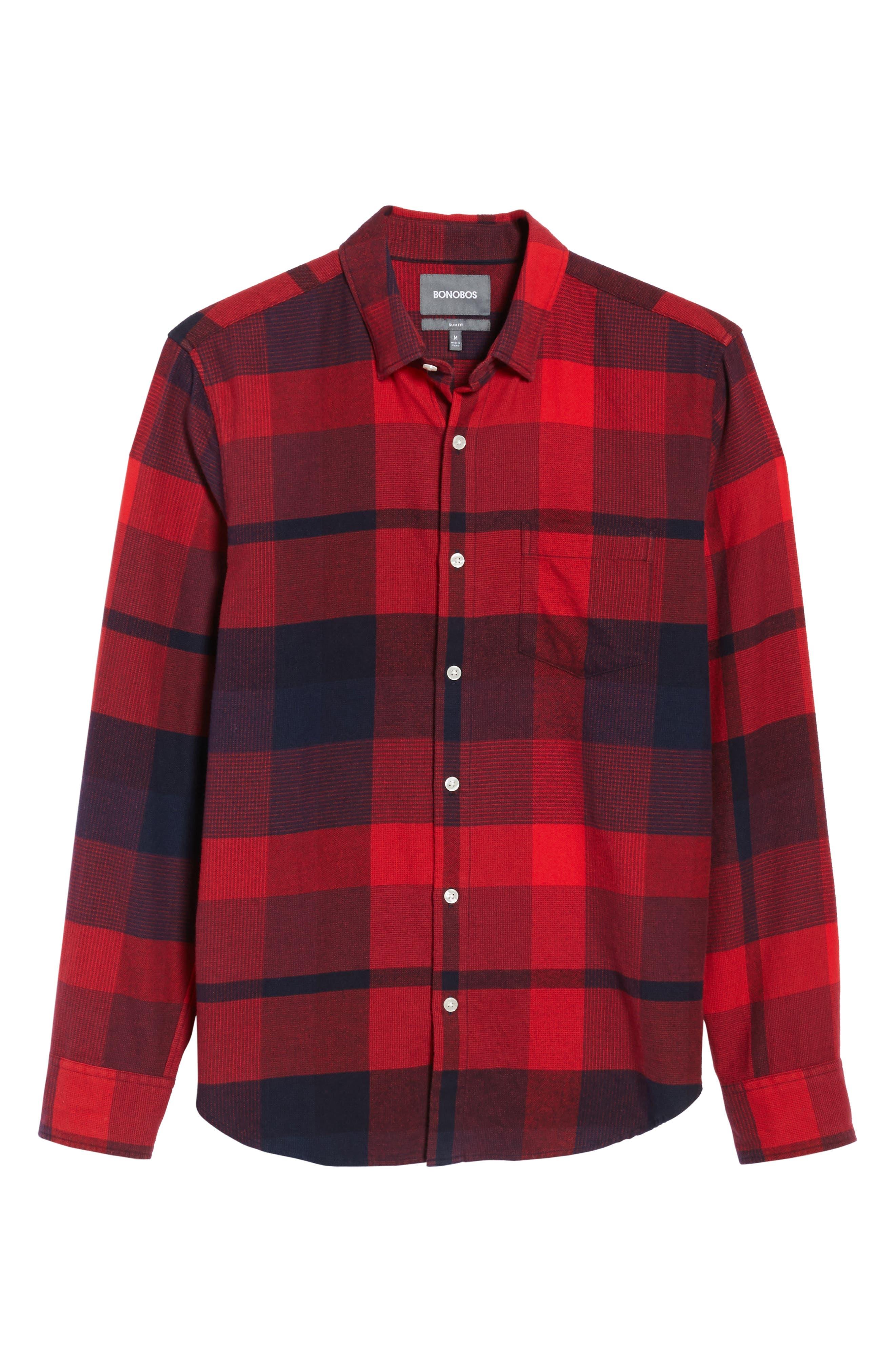 Slim Fit Brushed Plaid Sport Shirt,                             Alternate thumbnail 6, color,                             Big Check/ Firecracker