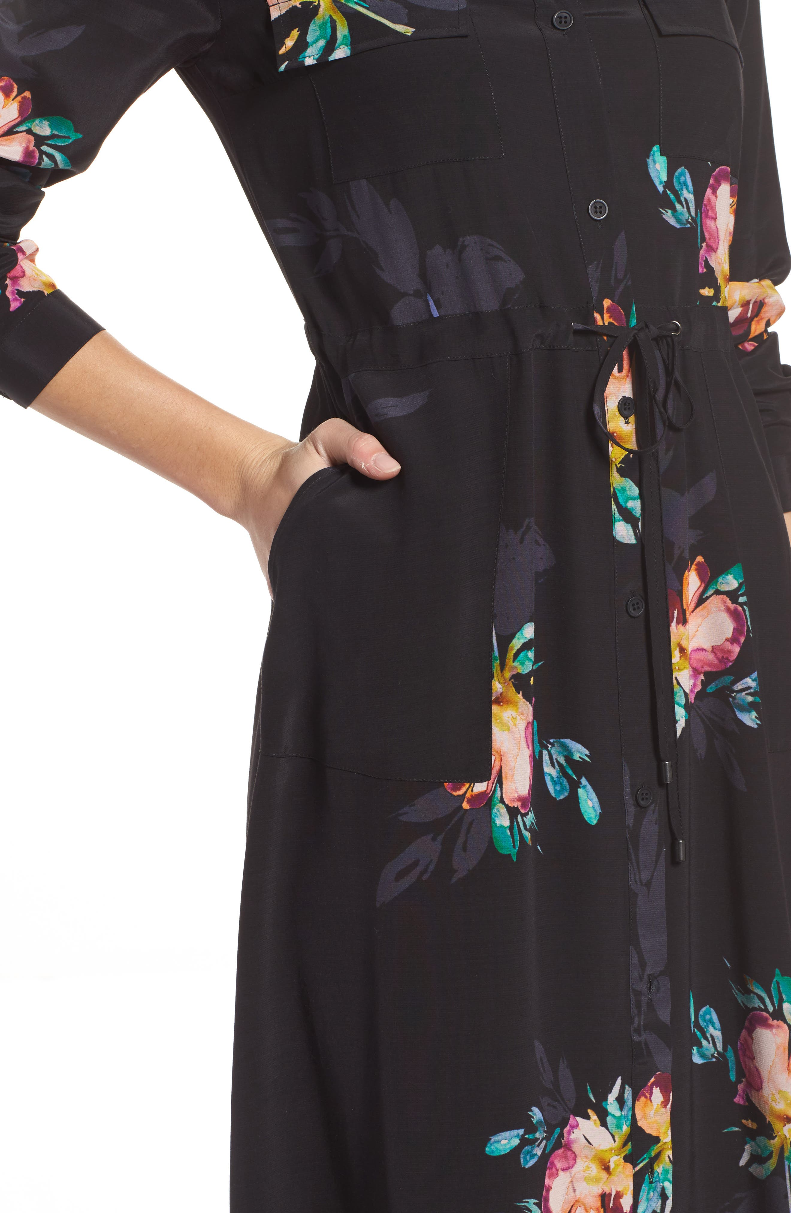 Delphine Midi Shirtdress,                             Alternate thumbnail 4, color,                             Black Multi