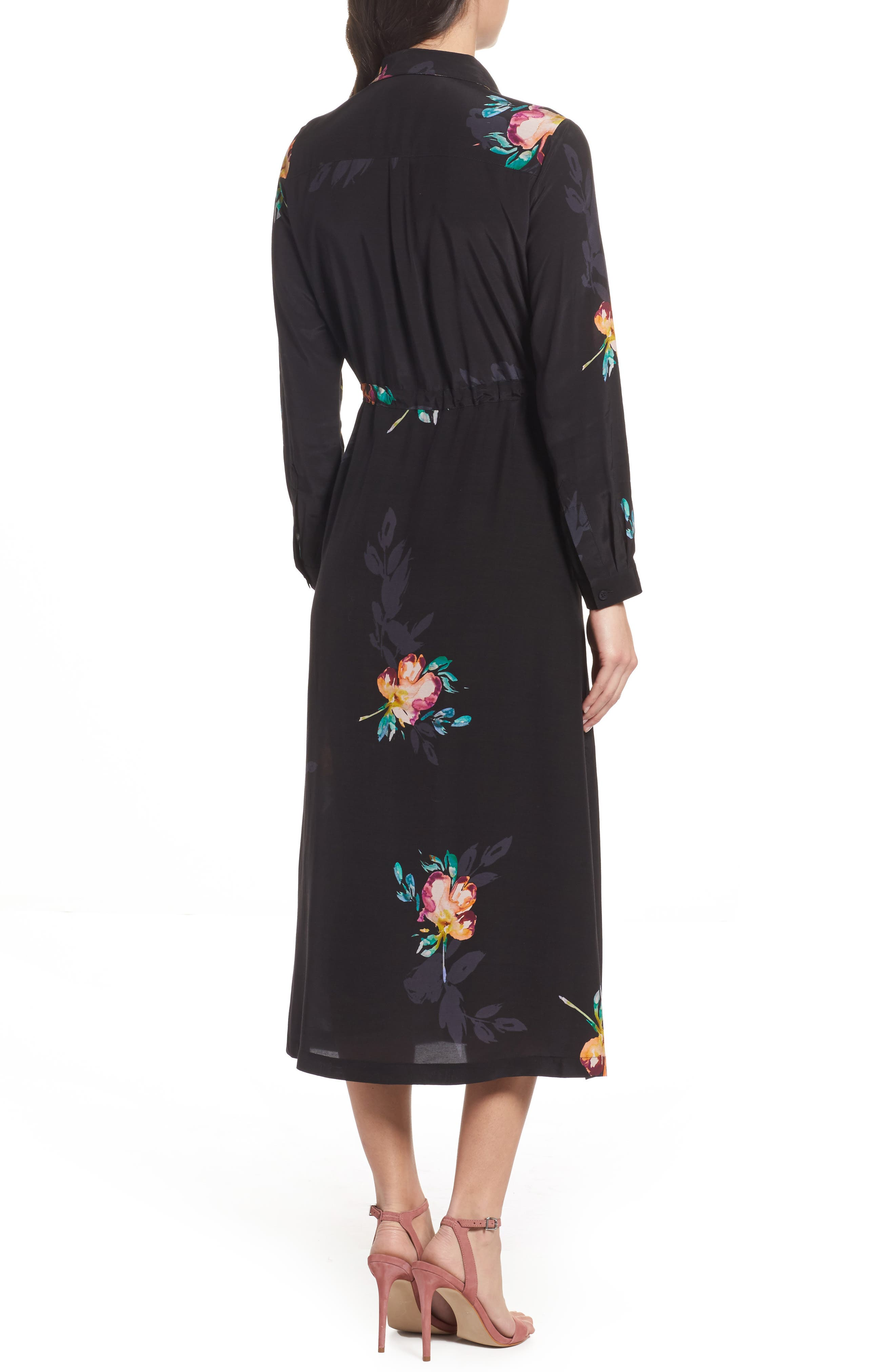 Delphine Midi Shirtdress,                             Alternate thumbnail 2, color,                             Black Multi