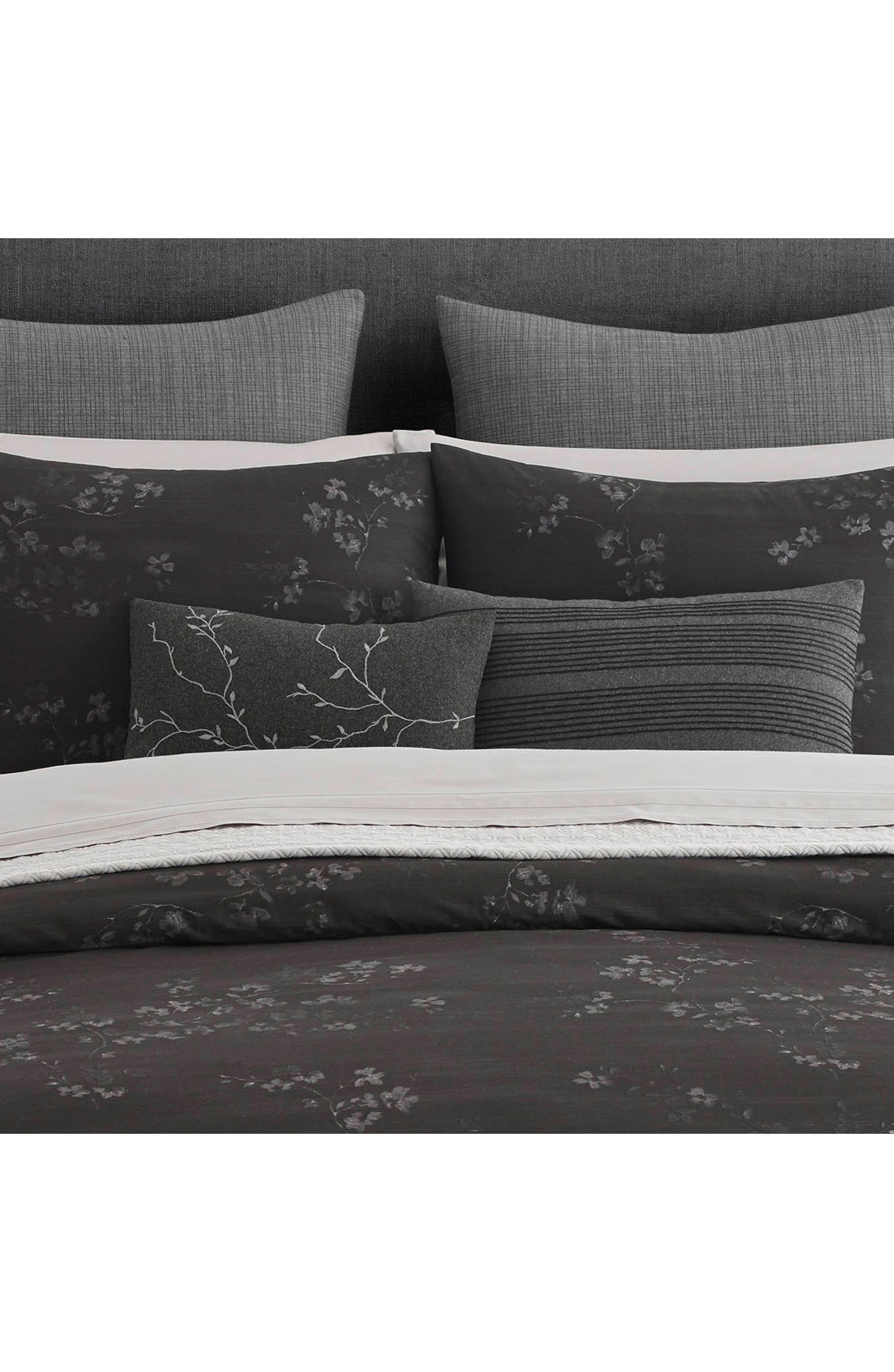 Charcoal Floral Vine Accent Pillow,                             Alternate thumbnail 2, color,                             Dark Gray