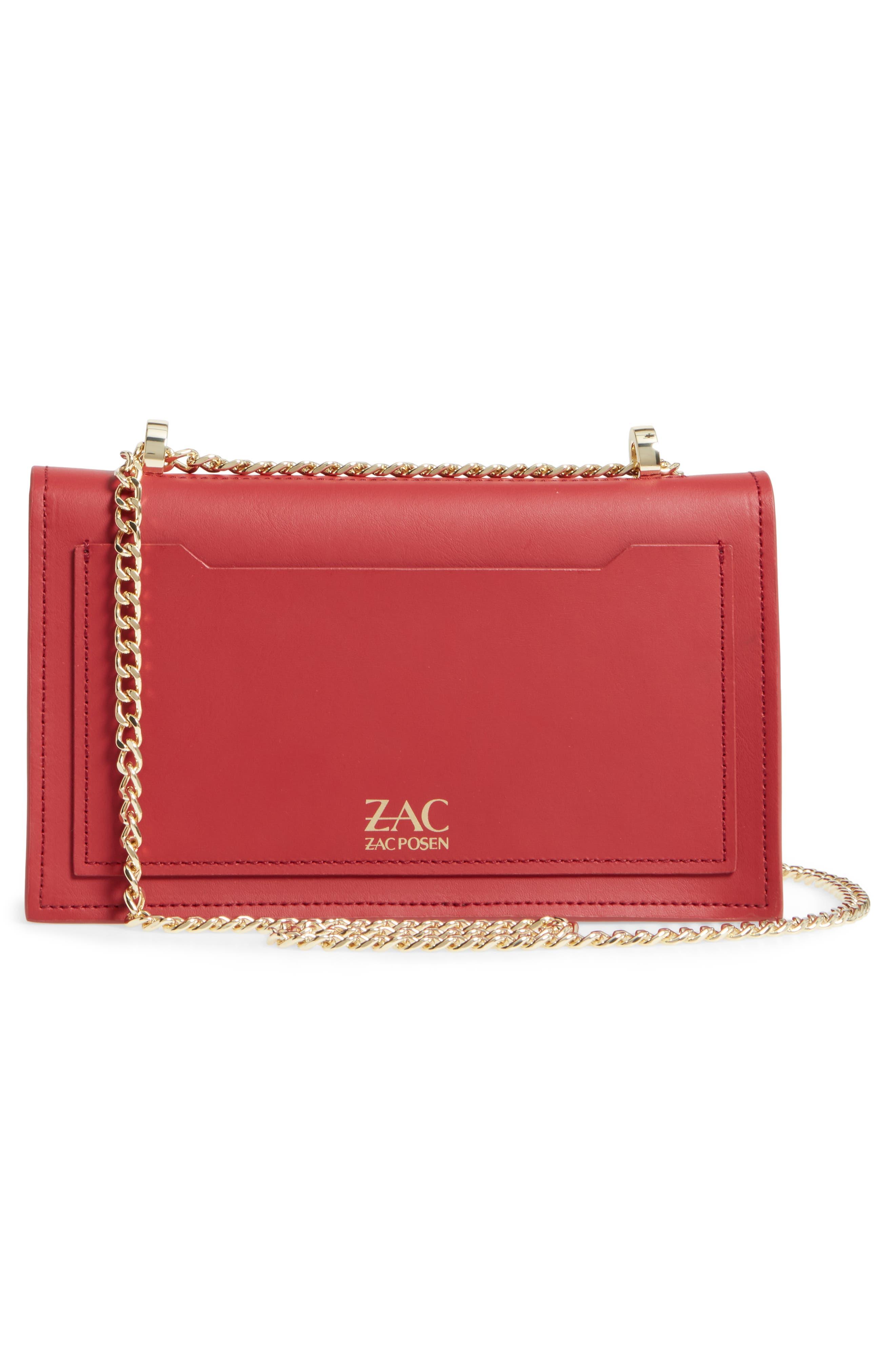 ZAC Zac Posen Earthette Leather Accordion Bag,                             Alternate thumbnail 3, color,                             Red