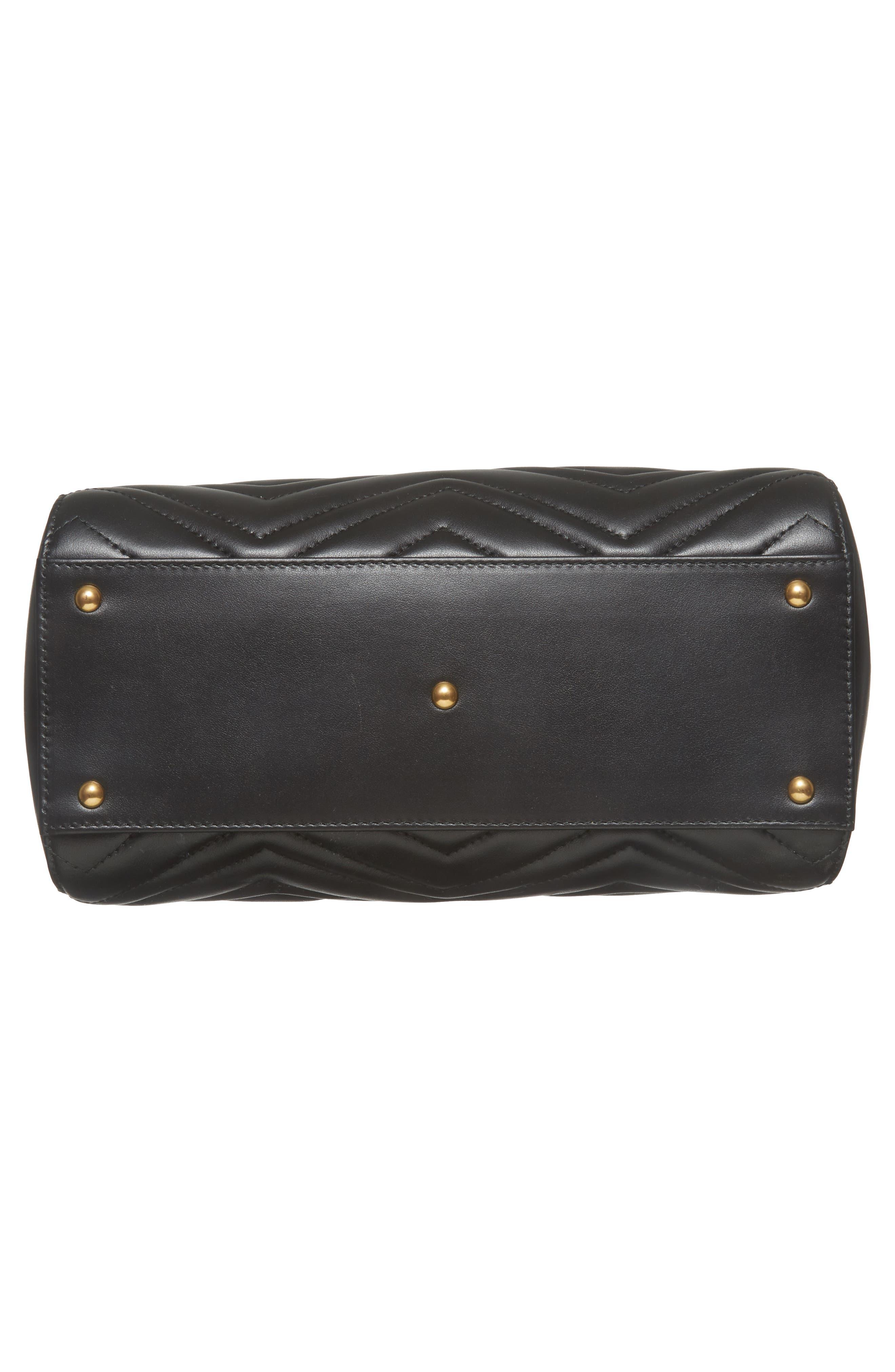 GG Small Marmont 2.0 Matelassé Leather Top Handle Satchel,                             Alternate thumbnail 6, color,                             Nero/ Nero