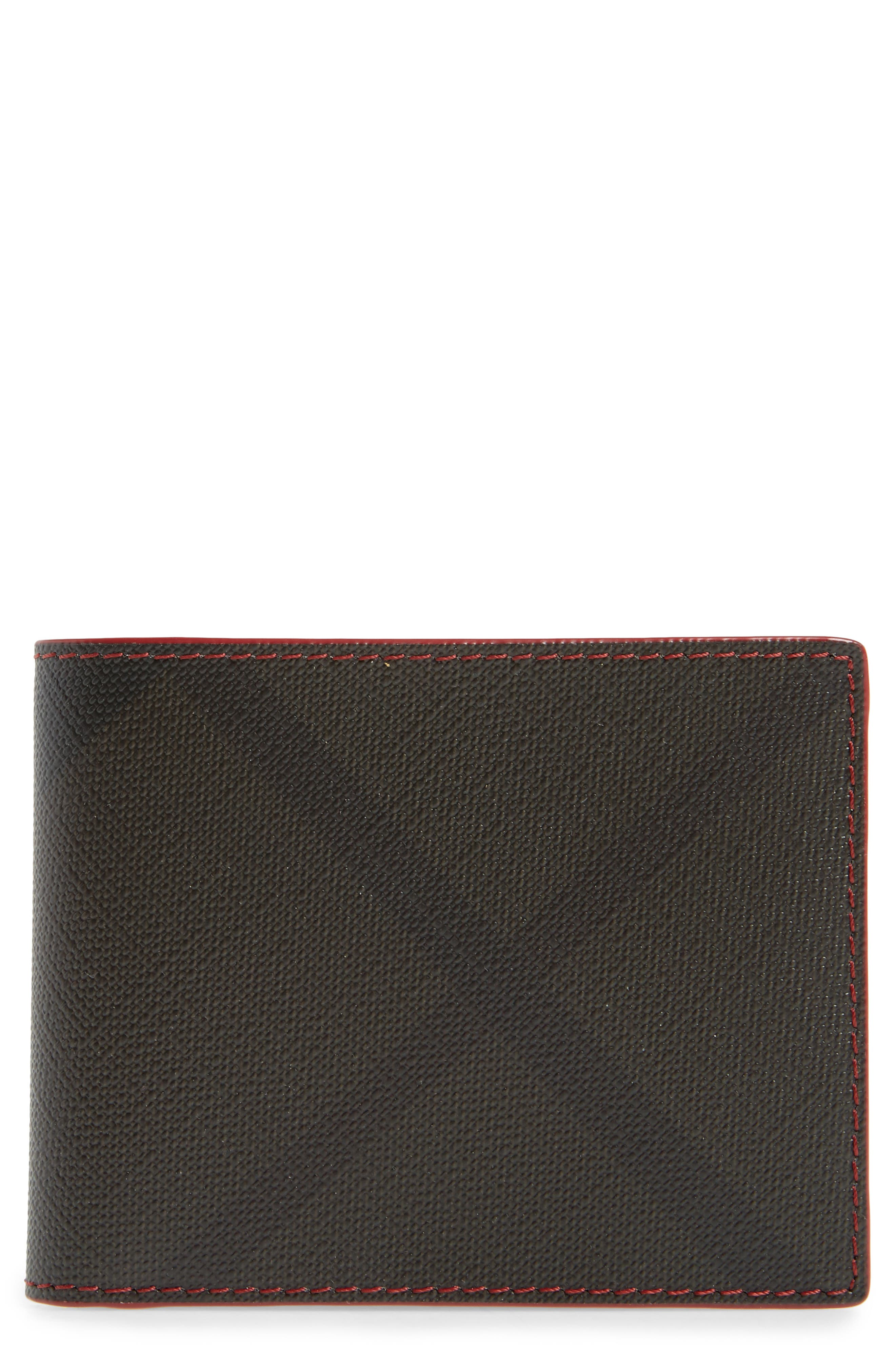 Main Image - Burberry Check Faux Leather Wallet