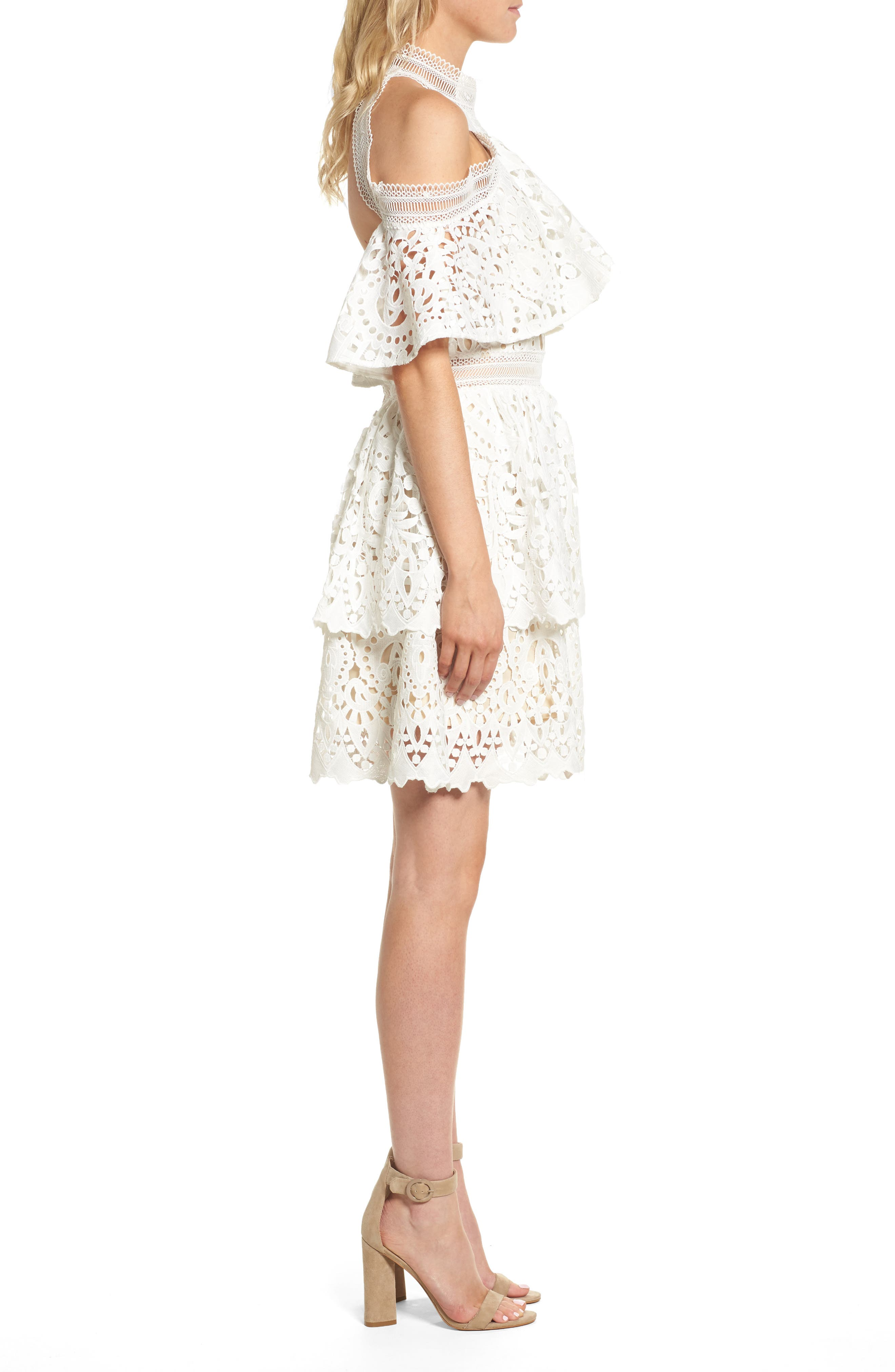 Saint Cloud Cold Shoulder Ruffle Dress,                             Alternate thumbnail 3, color,                             White