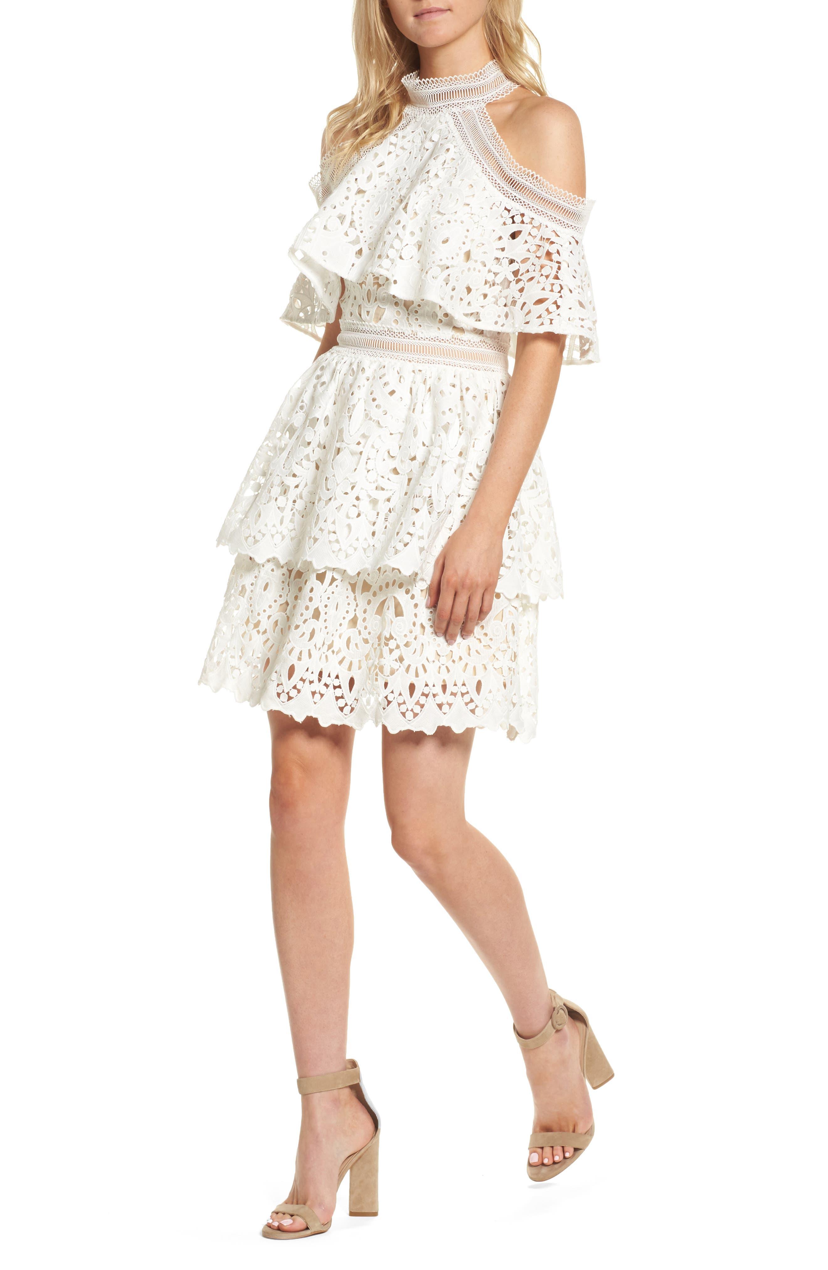 Saint Cloud Cold Shoulder Ruffle Dress,                             Main thumbnail 1, color,                             White