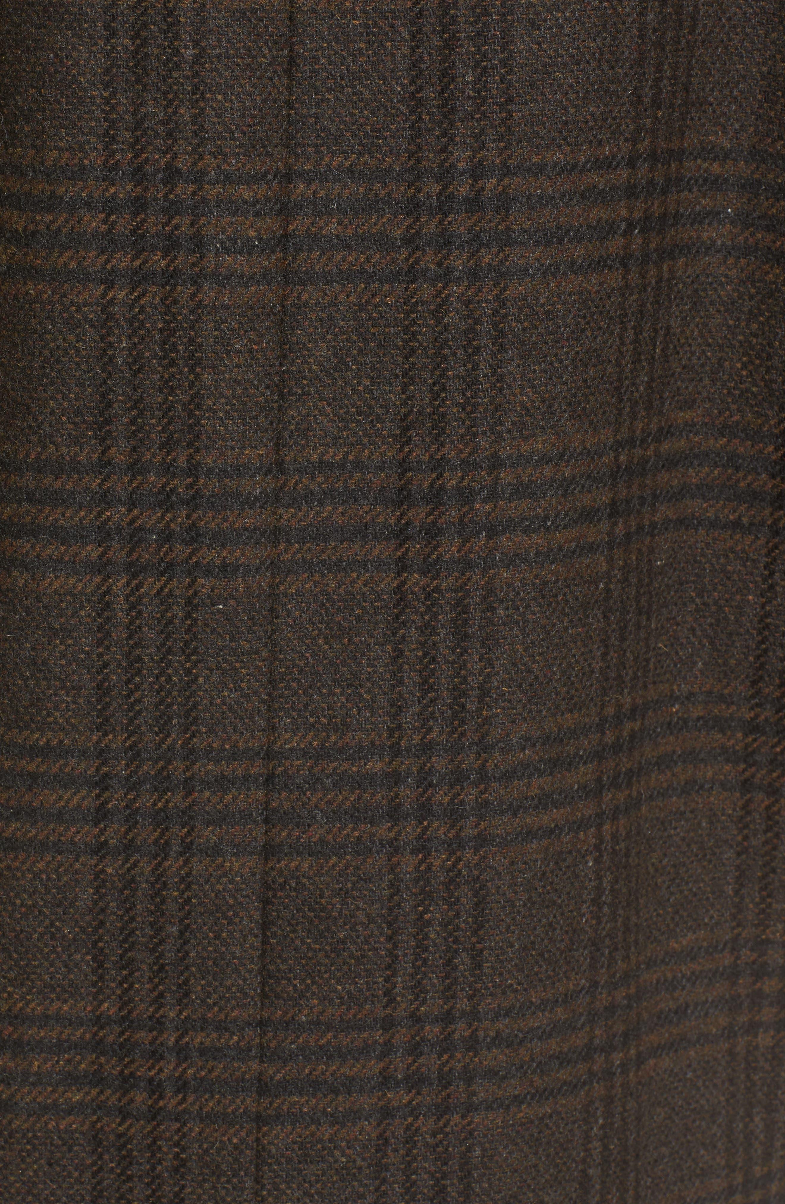 Menswear Coat,                             Alternate thumbnail 5, color,                             Brown Plaid