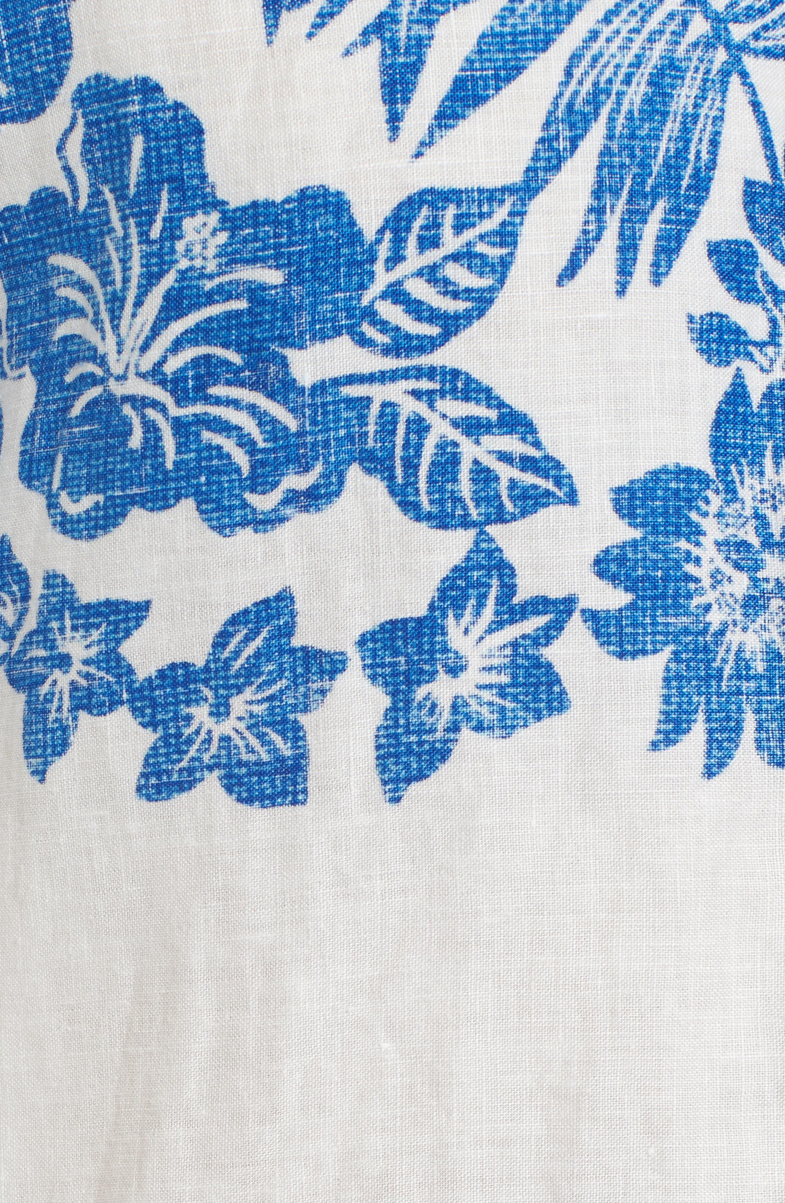 Waimea Wonder Linen Camp Shirt,                             Alternate thumbnail 5, color,                             Coconut