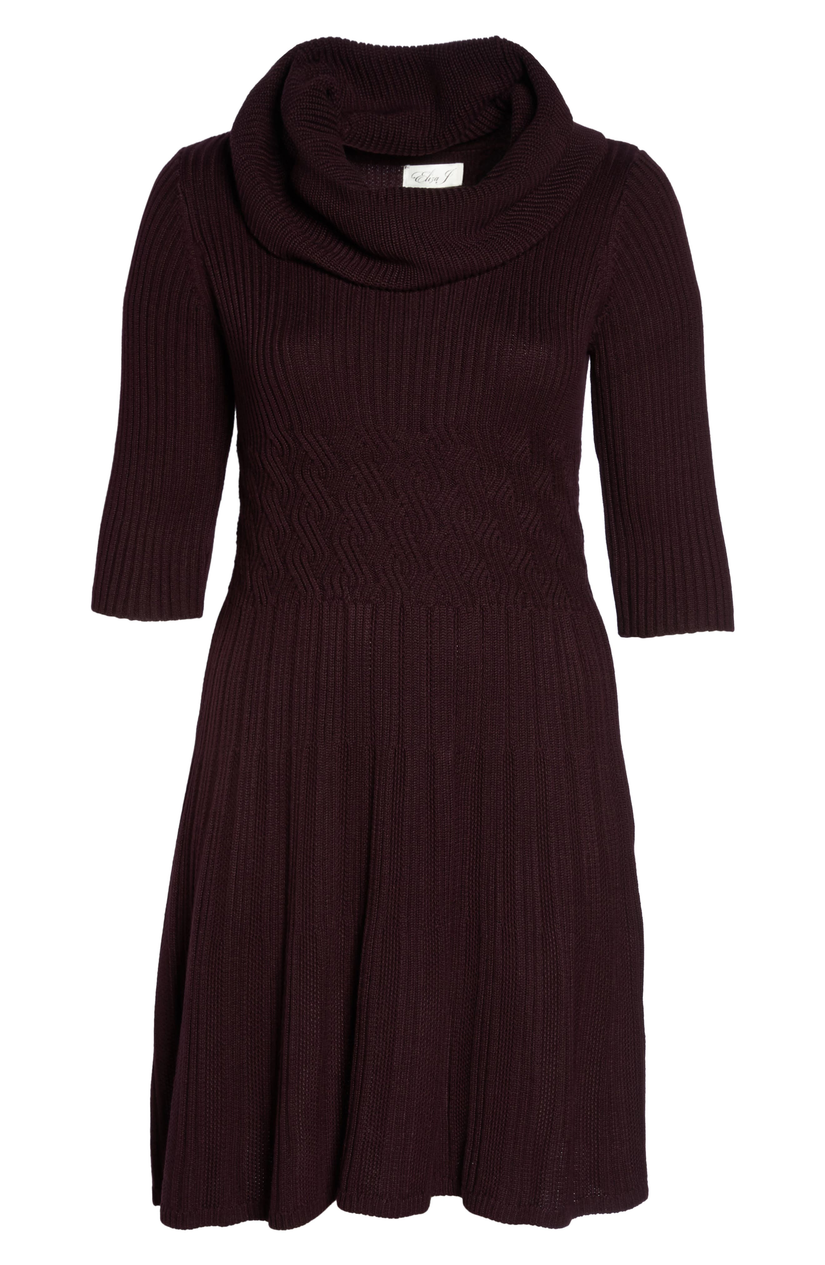 Ribbed Waist Fit & Flare Dress,                             Alternate thumbnail 6, color,                             Wine
