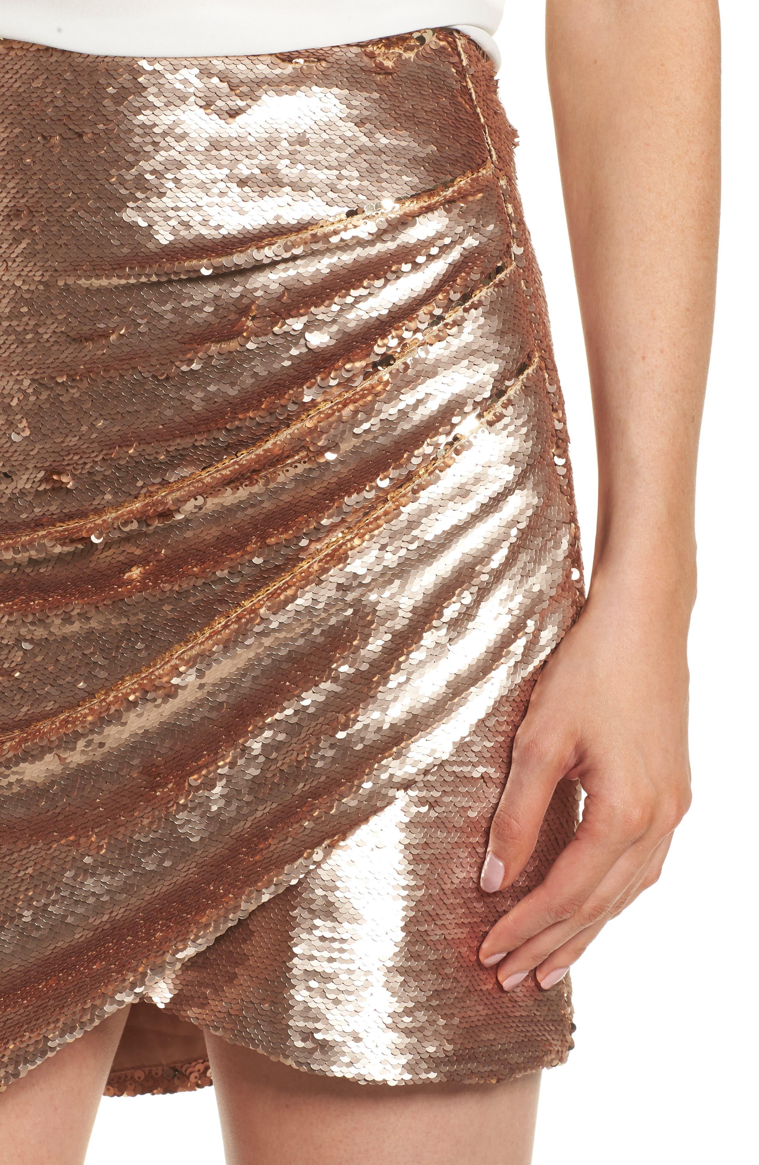 Tresor Sequin Miniskirt,                             Alternate thumbnail 4, color,                             Champagne Blush