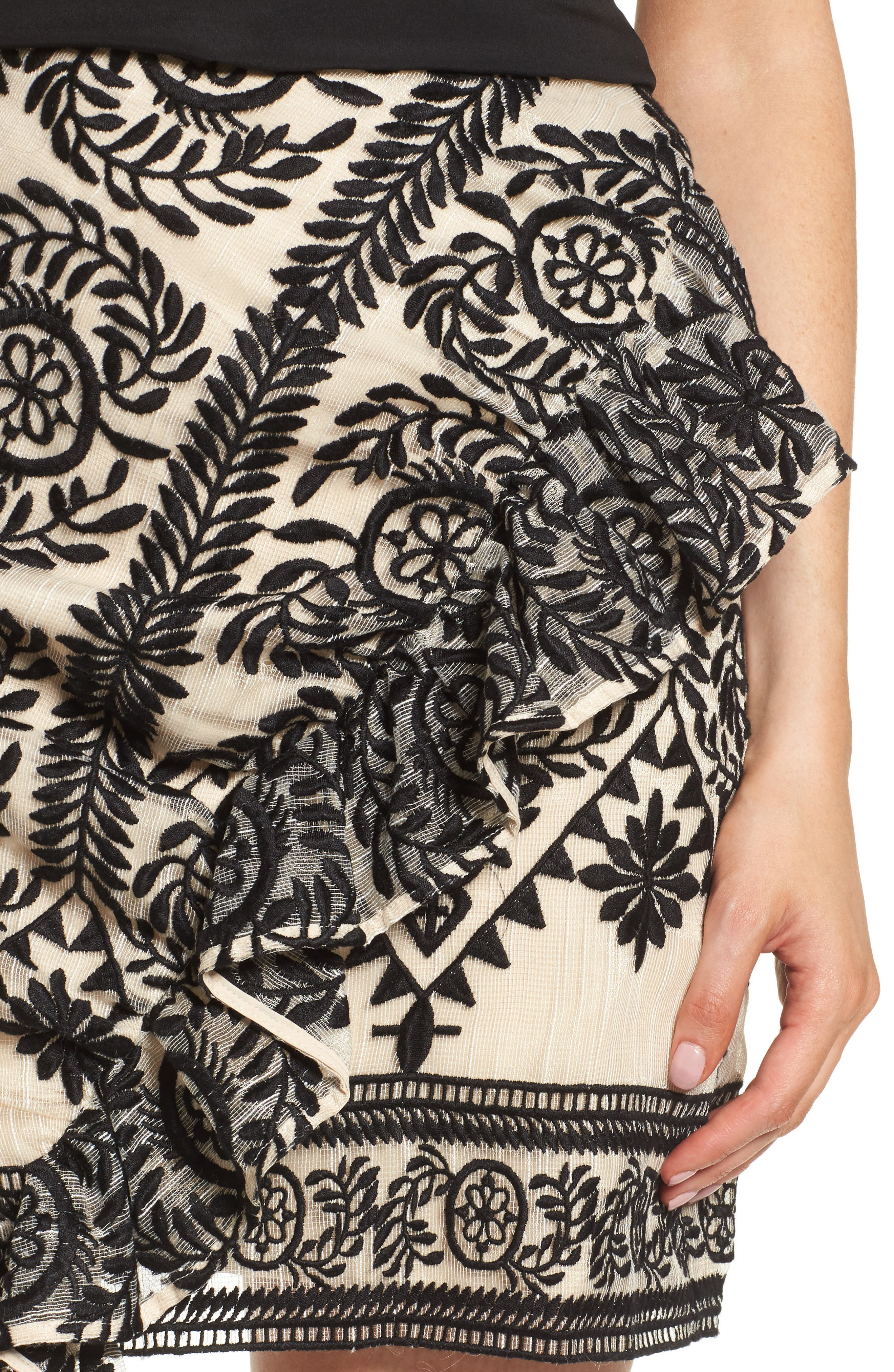 Soiree Ruffle Miniskirt,                             Alternate thumbnail 5, color,                             Black
