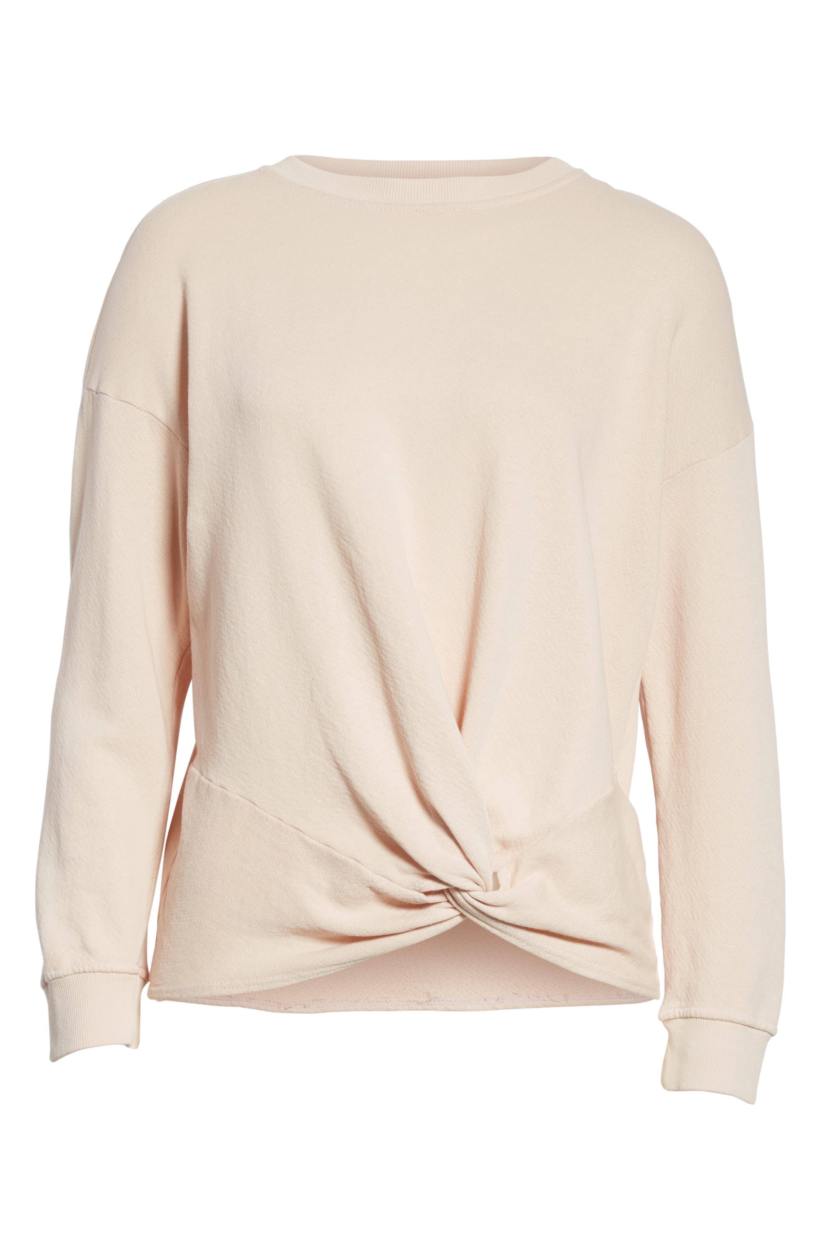 Nazani Twist Front Sweatshirt,                             Alternate thumbnail 6, color,                             Heather Rose