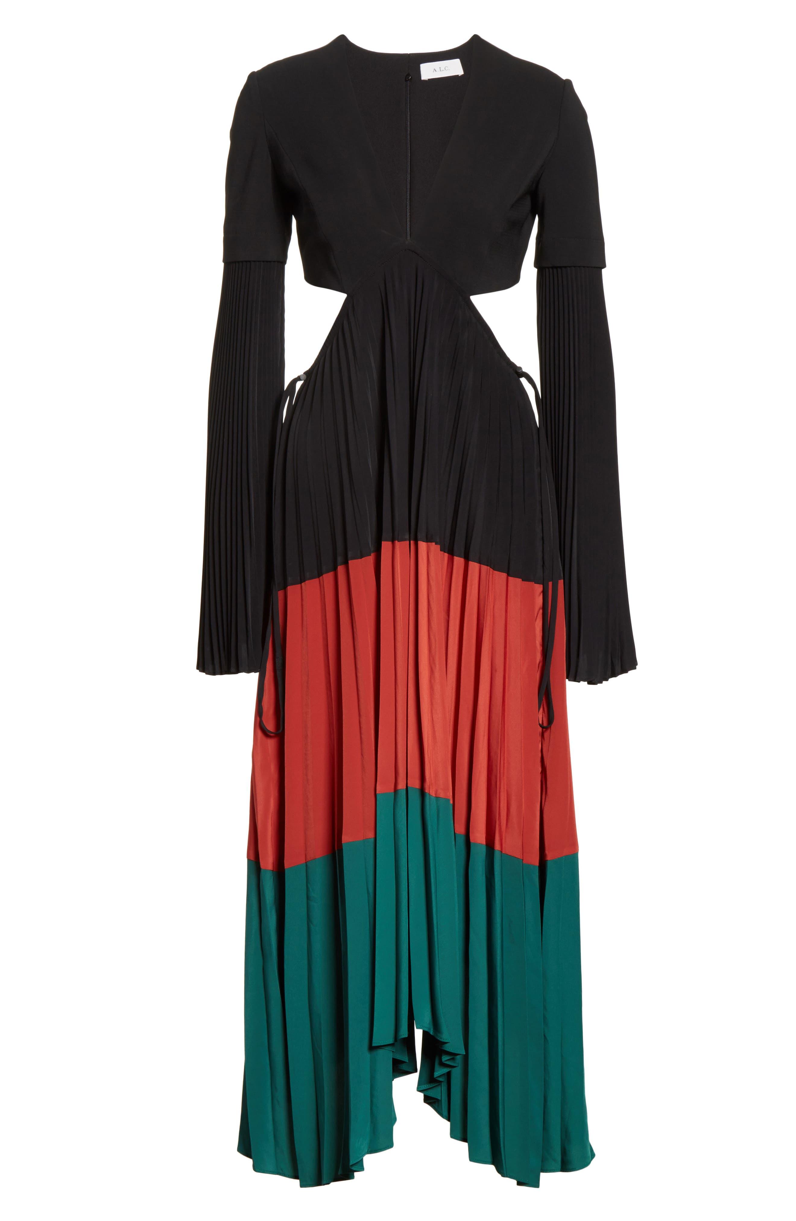 Rio Cutout Pleated Midi Dress,                             Alternate thumbnail 6, color,                             Black