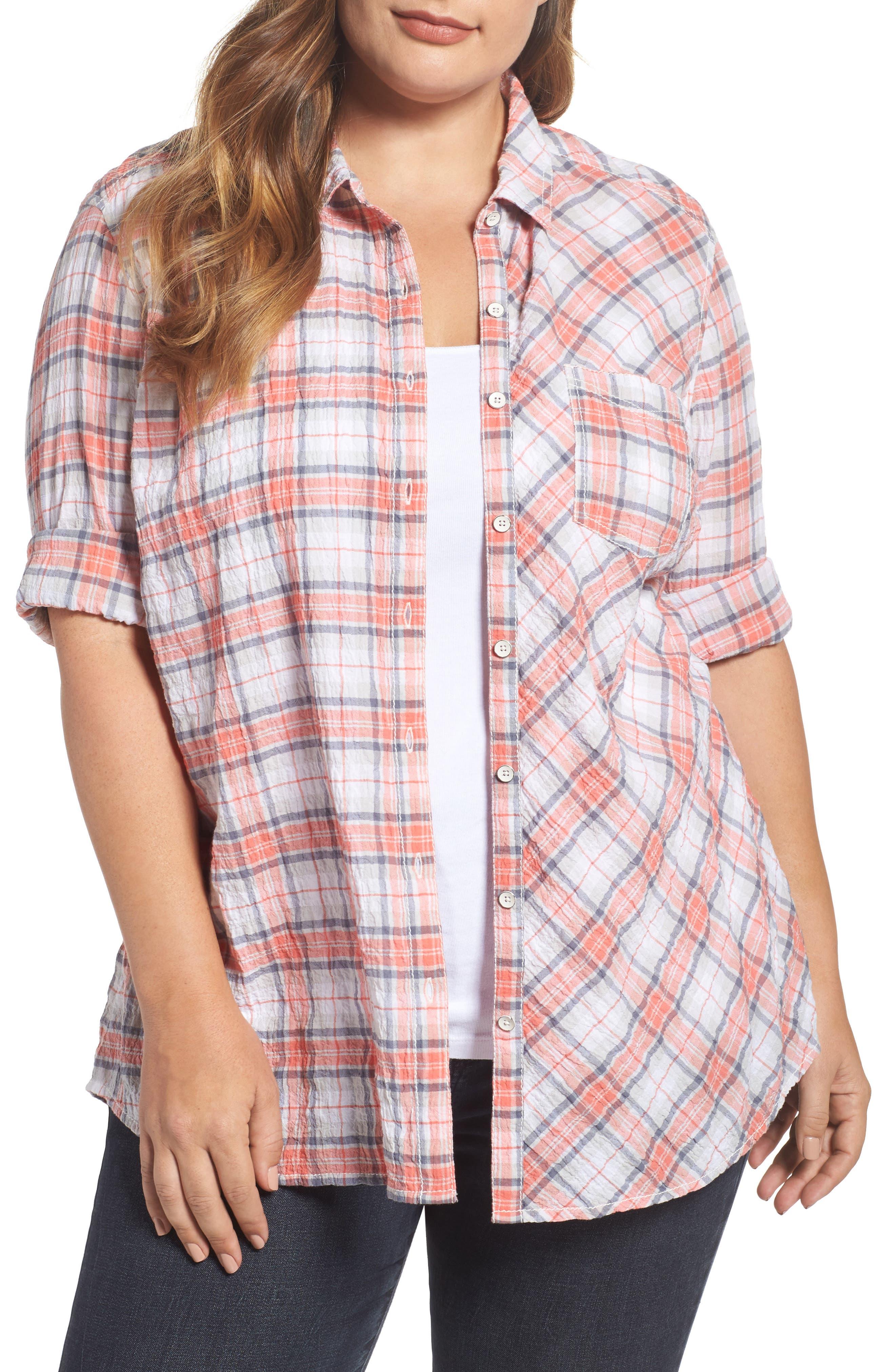 Seersucker Shirt,                         Main,                         color, White- Coral Plaid