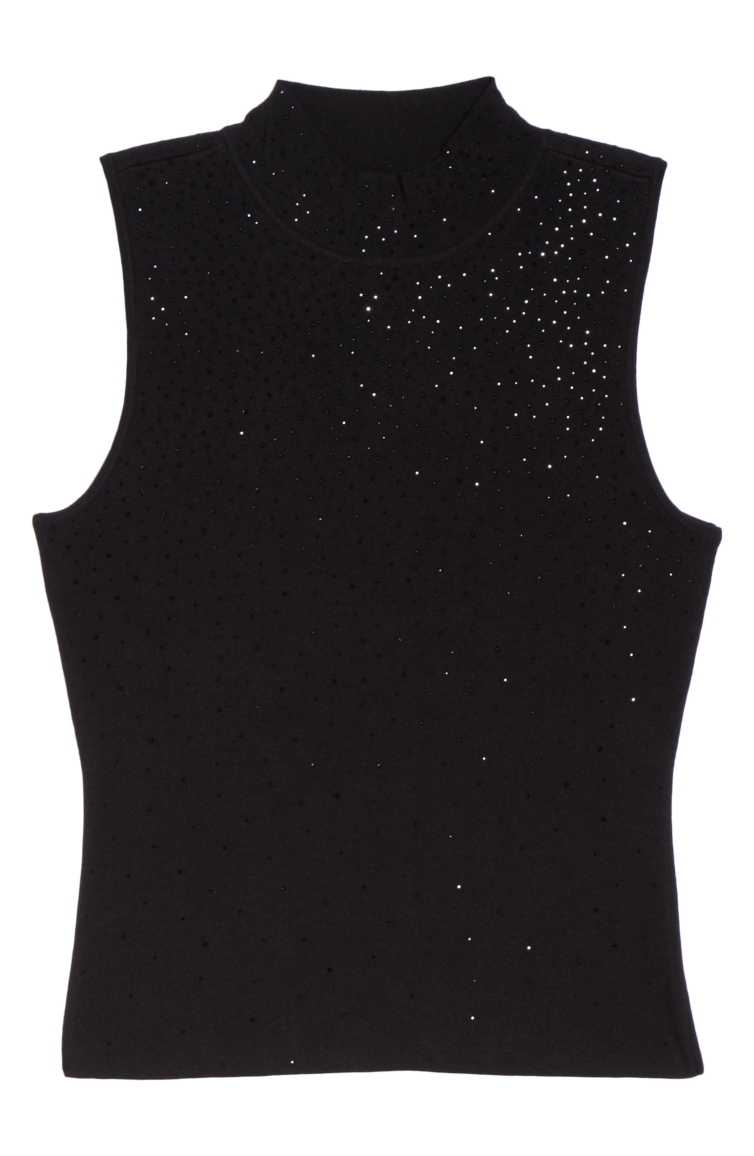 Embellished Sleeveless Top,                             Alternate thumbnail 6, color,                             Black