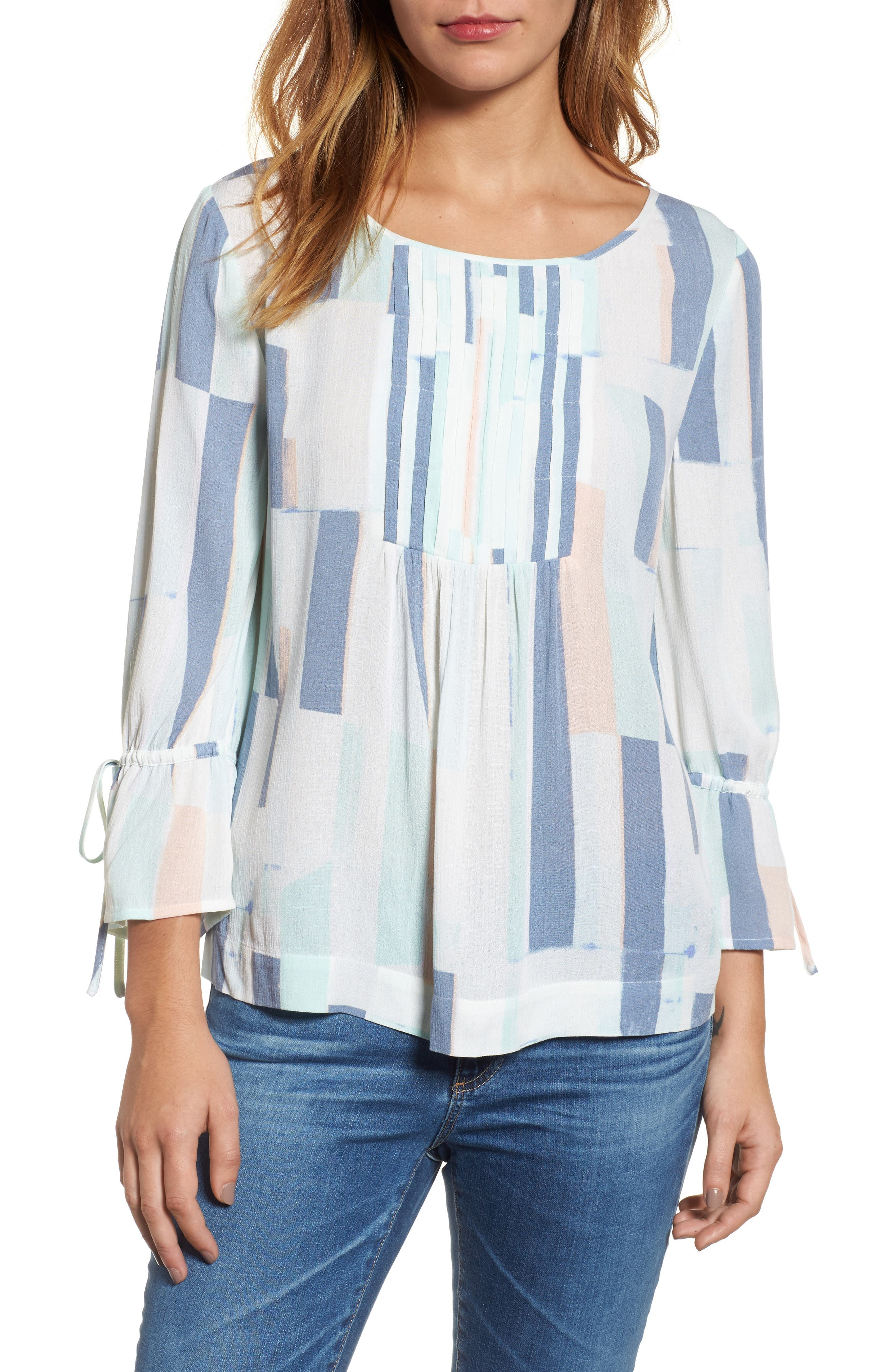 Printed Tie Sleeve Blouse,                             Main thumbnail 1, color,                             Teal- White Geo