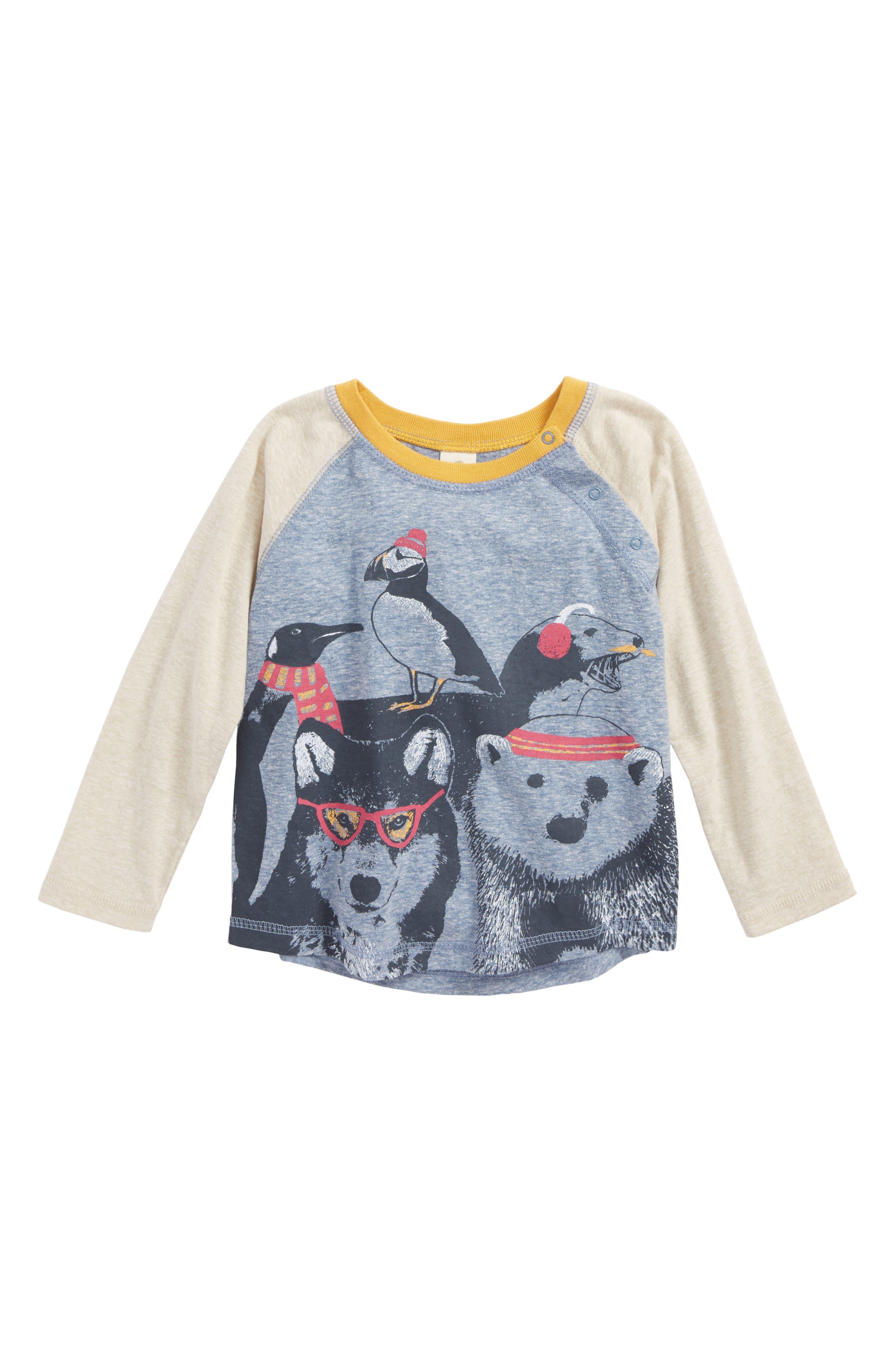 Graphic Baseball T-Shirt,                         Main,                         color, Blue Calm Winter Animals
