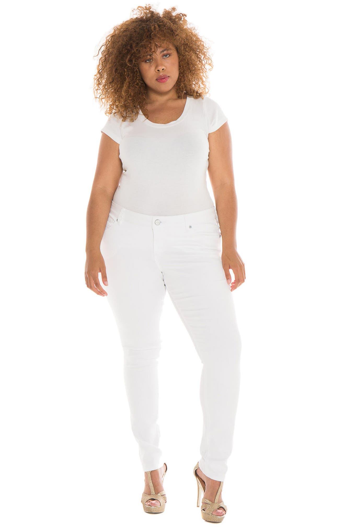 Alternate Image 2  - SLINK Jeans Skinny Jeans (Charlie) (Plus Size)