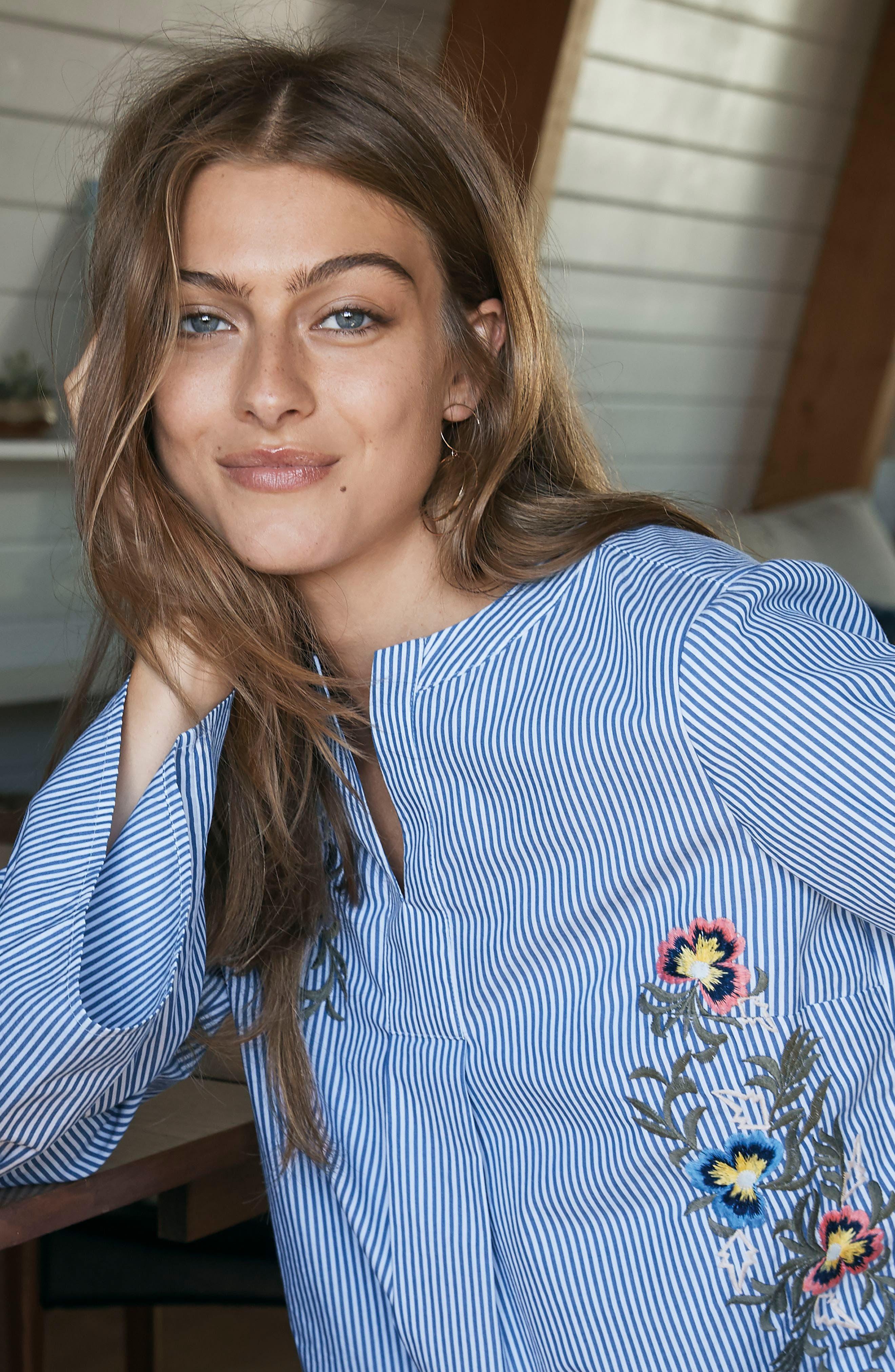 Alternate Image 7  - Caslon® Embroidered Bell Sleeve Top (Regular & Petite)