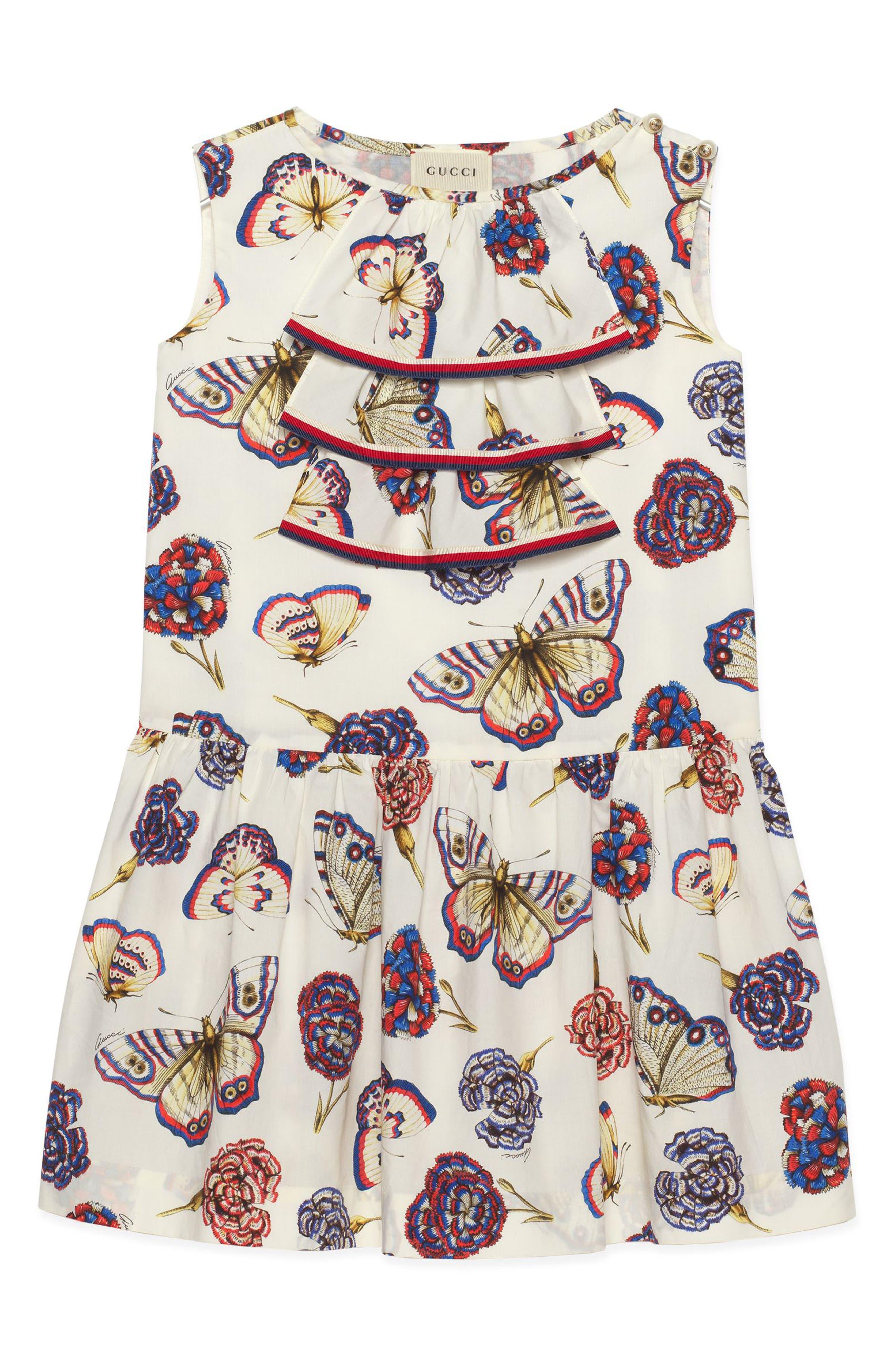 Main Image - Gucci Butterfly Ruffle Dress (Little Girls & Big Girls)