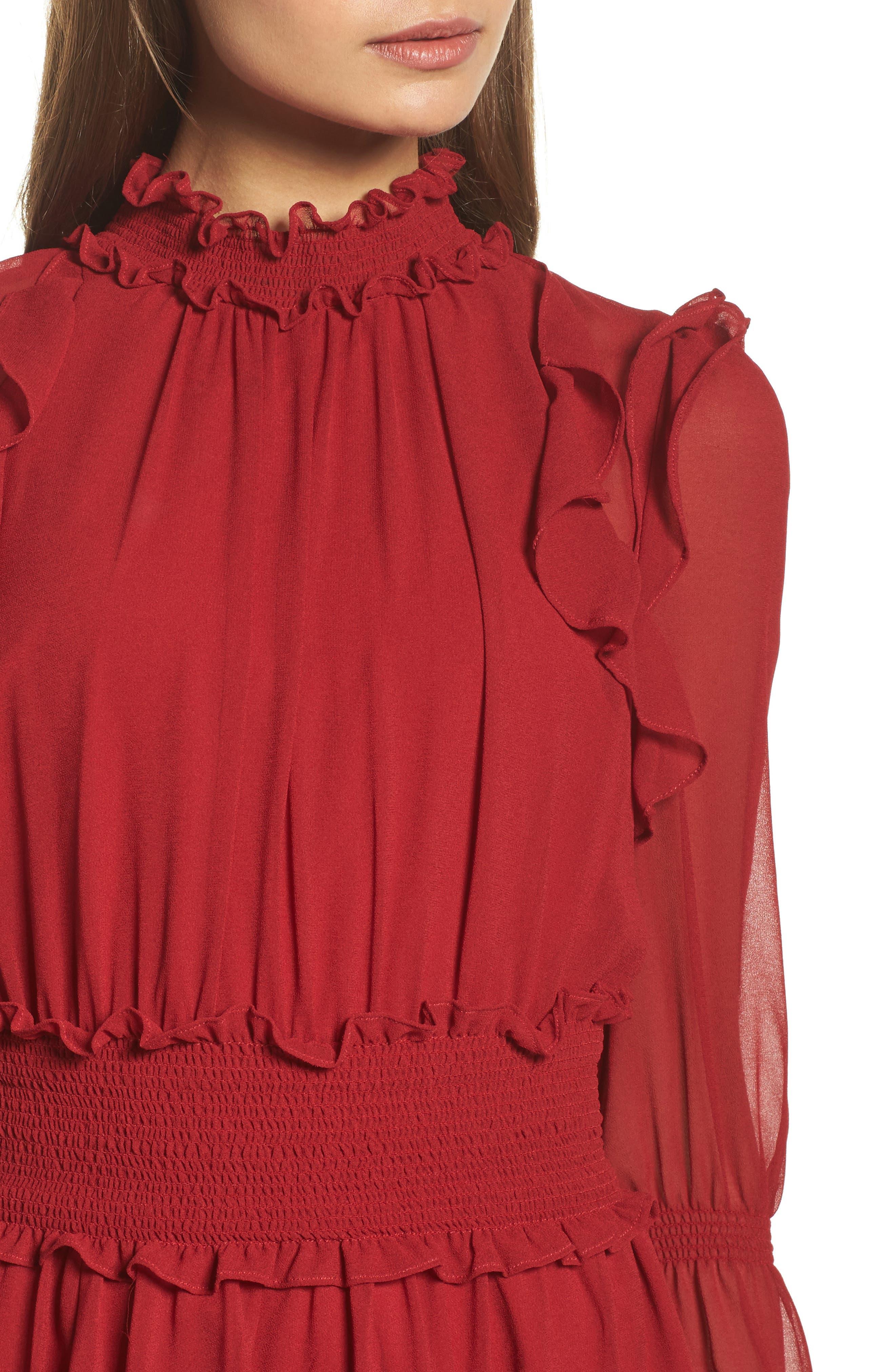 Ruffle Midi Dress,                             Alternate thumbnail 4, color,                             Red Jester